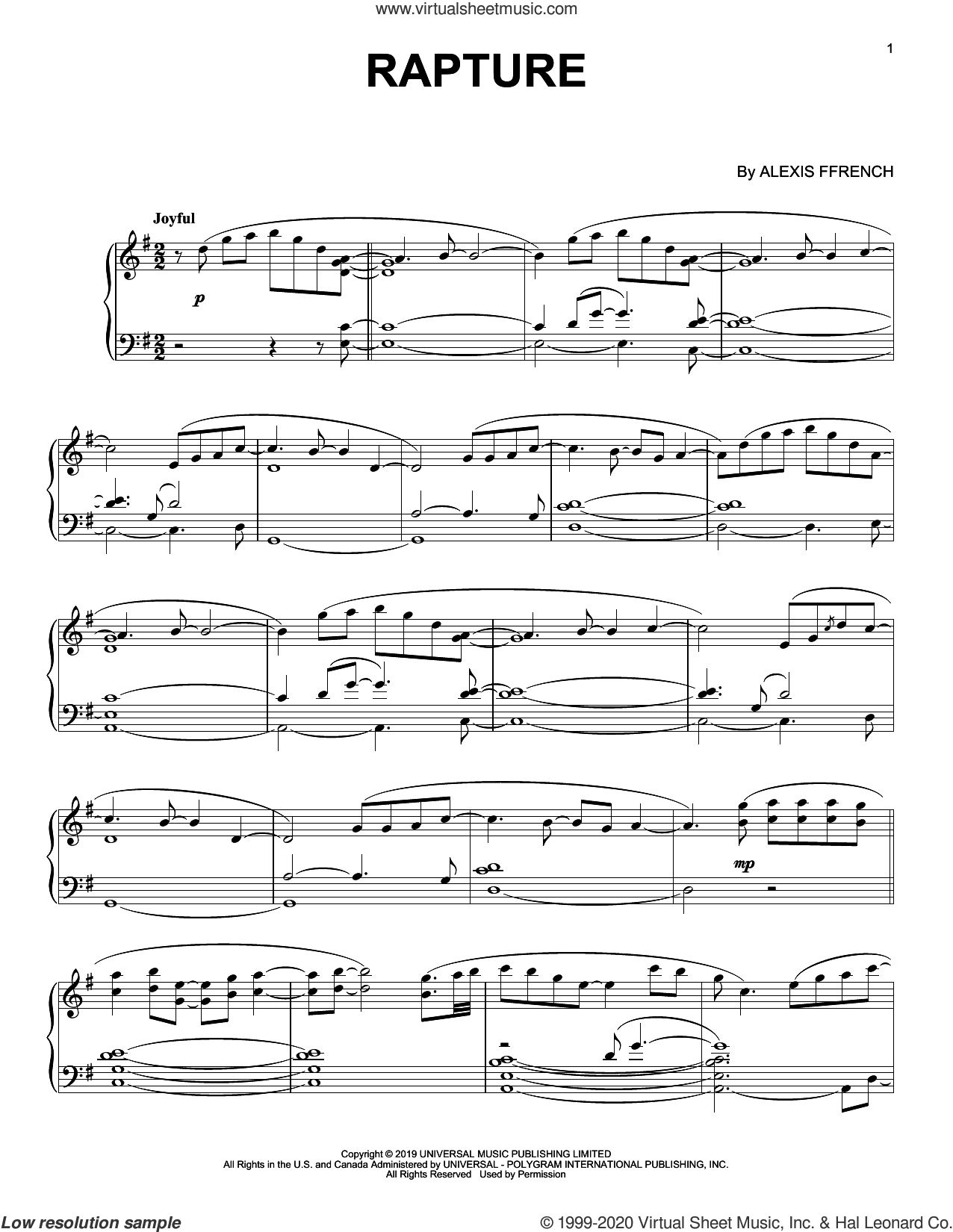 Rapture sheet music for piano solo by Alexis Ffrench, intermediate skill level