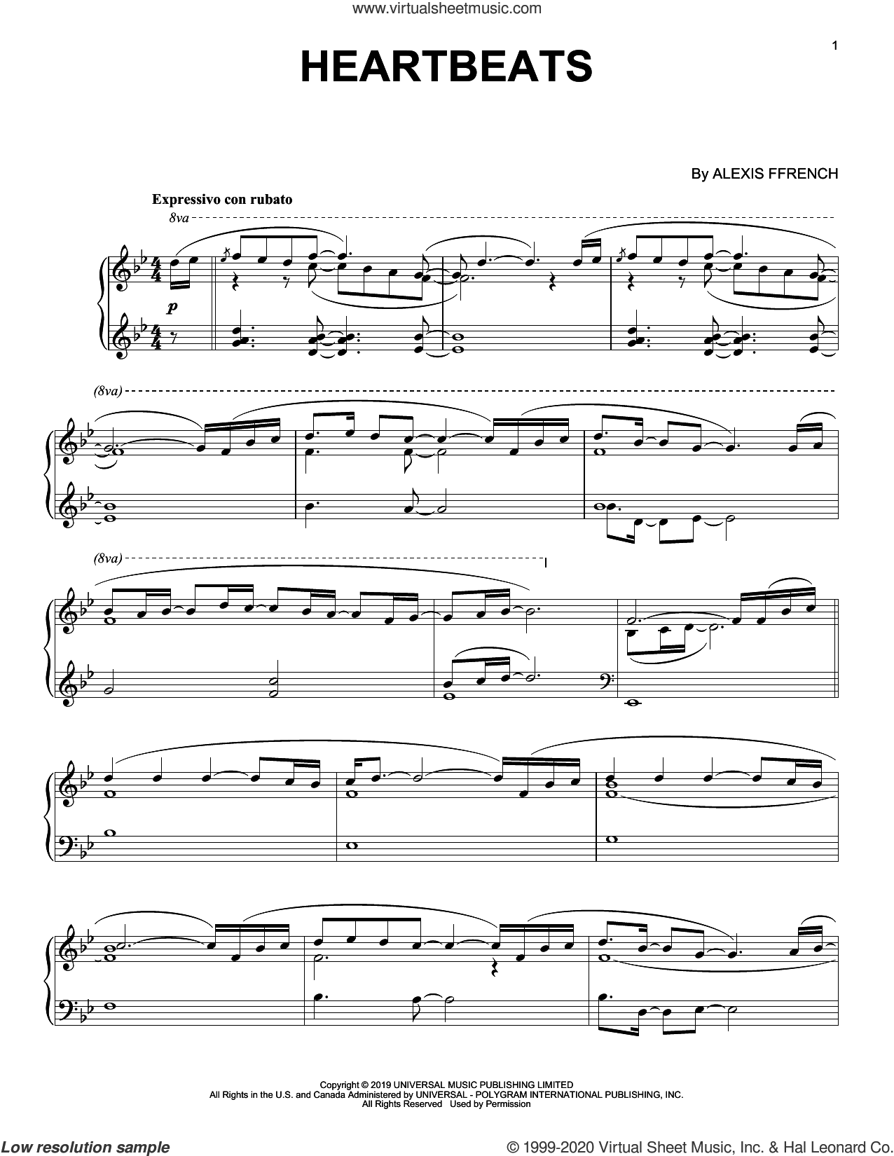 Heartbeats sheet music for piano solo by Alexis Ffrench, intermediate skill level