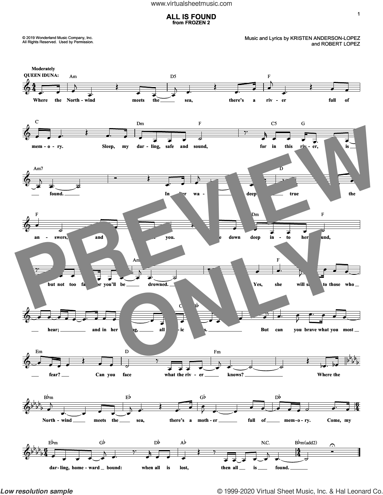 All Is Found (from Disney's Frozen 2) sheet music for voice and other instruments (fake book) by Evan Rachel Wood, Kristen Anderson-Lopez and Robert Lopez, intermediate skill level