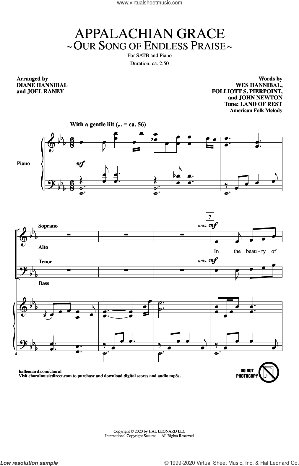 Appalachian Grace (Our Song Of Endless Praise) (arr. Diane Hannibal and Joel Raney) sheet music for choir (SATB: soprano, alto, tenor, bass) by John Newton, Diane Hannibal, Joel Raney, Folliott S. Pierpoint, Wes Hannibal and Wes Hannibal, Folliott S. Pierpoint and John Newton, intermediate skill level