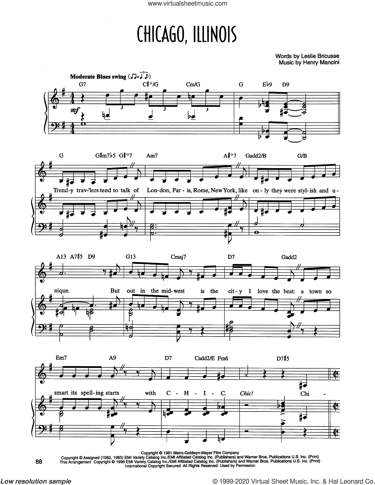 Chicago, Illinois (from Victor/Victoria) sheet music for voice and piano by Leslie Bricusse and Henry Mancini, Henry Mancini and Leslie Bricusse, intermediate skill level
