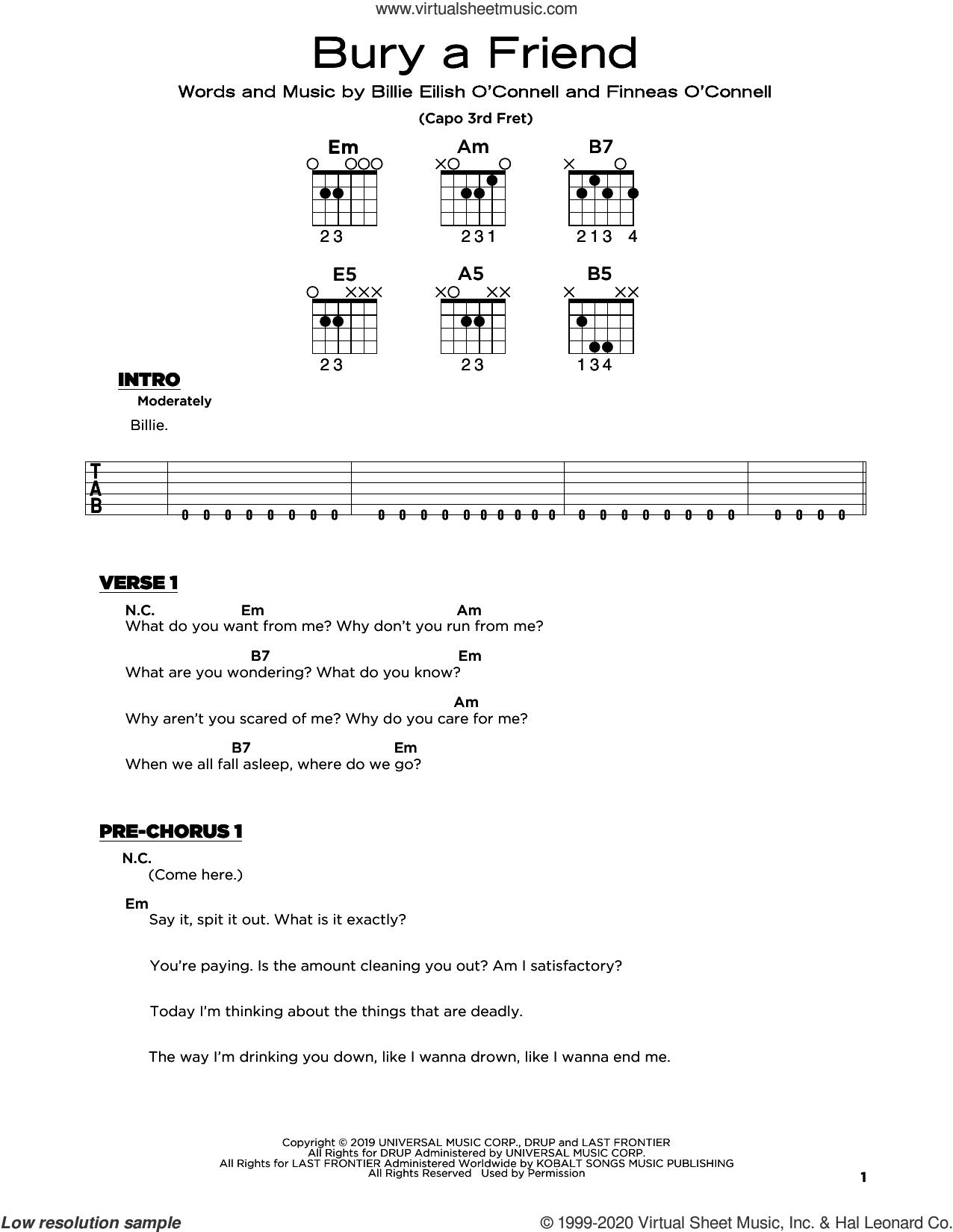 bury a friend sheet music for guitar solo by Billie Eilish, beginner skill level