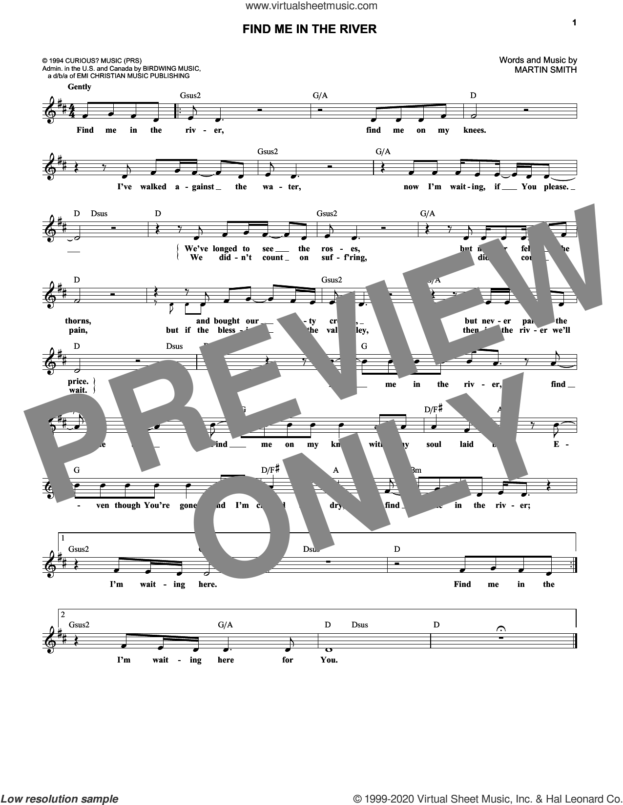 Find Me In The River sheet music for voice and other instruments (fake book) by Delirious? and Martin Smith, intermediate skill level