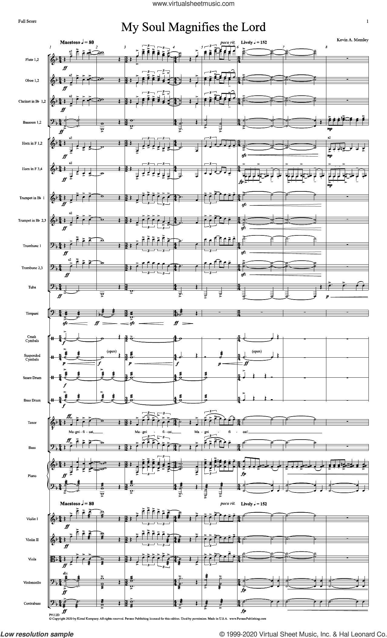 My Soul Magnifies the Lord (Full Orchestra) (COMPLETE) sheet music for orchestra/band by Kevin A. Memley, intermediate skill level