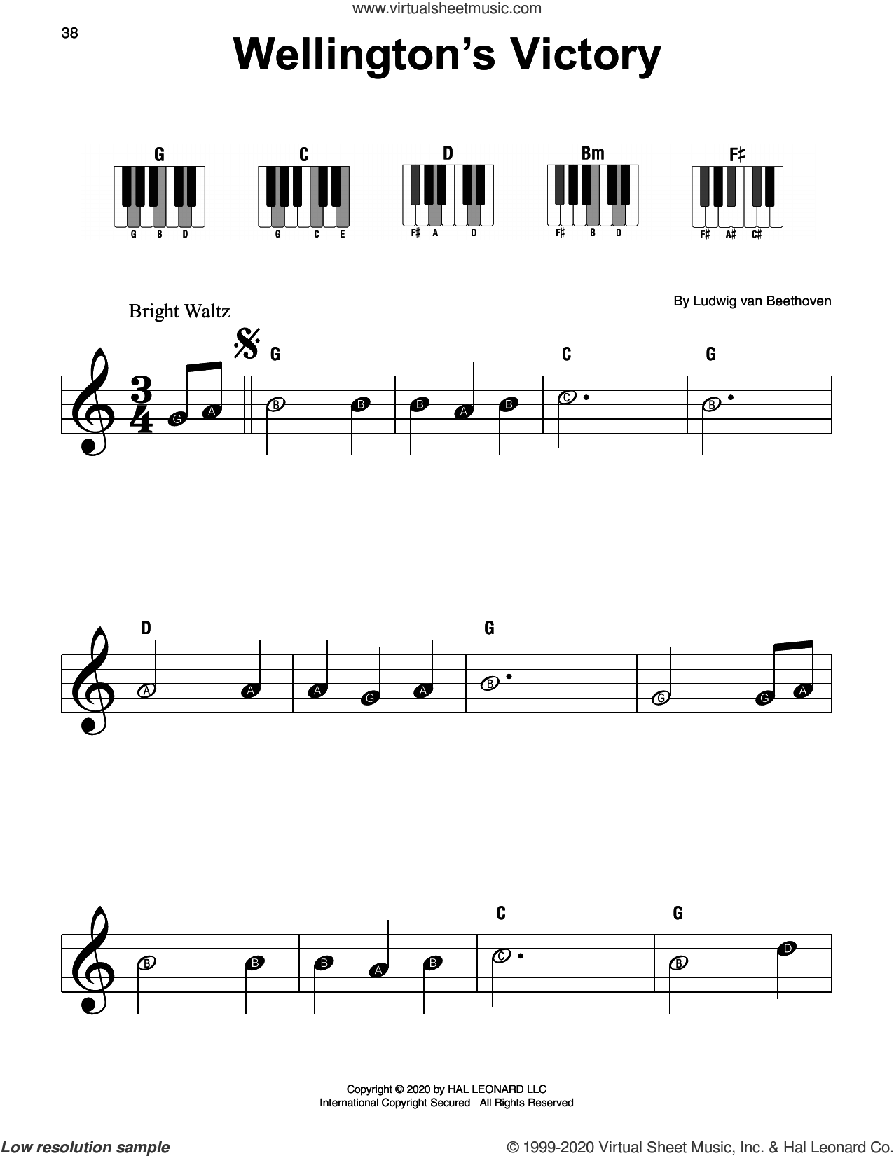 Wellington's Victory sheet music for piano solo by Ludwig van Beethoven, classical score, beginner skill level