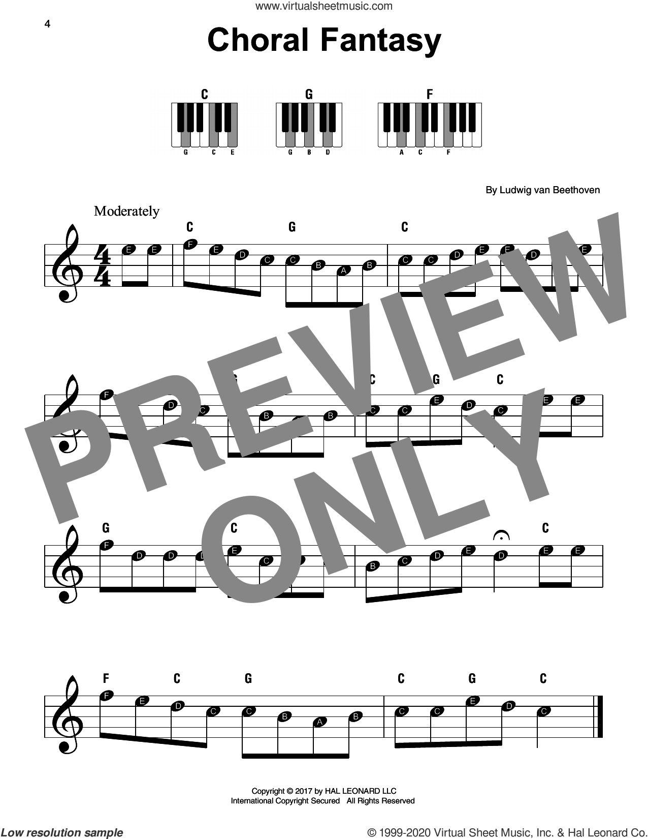 Choral Fantasy sheet music for piano solo by Ludwig van Beethoven, classical score, beginner skill level