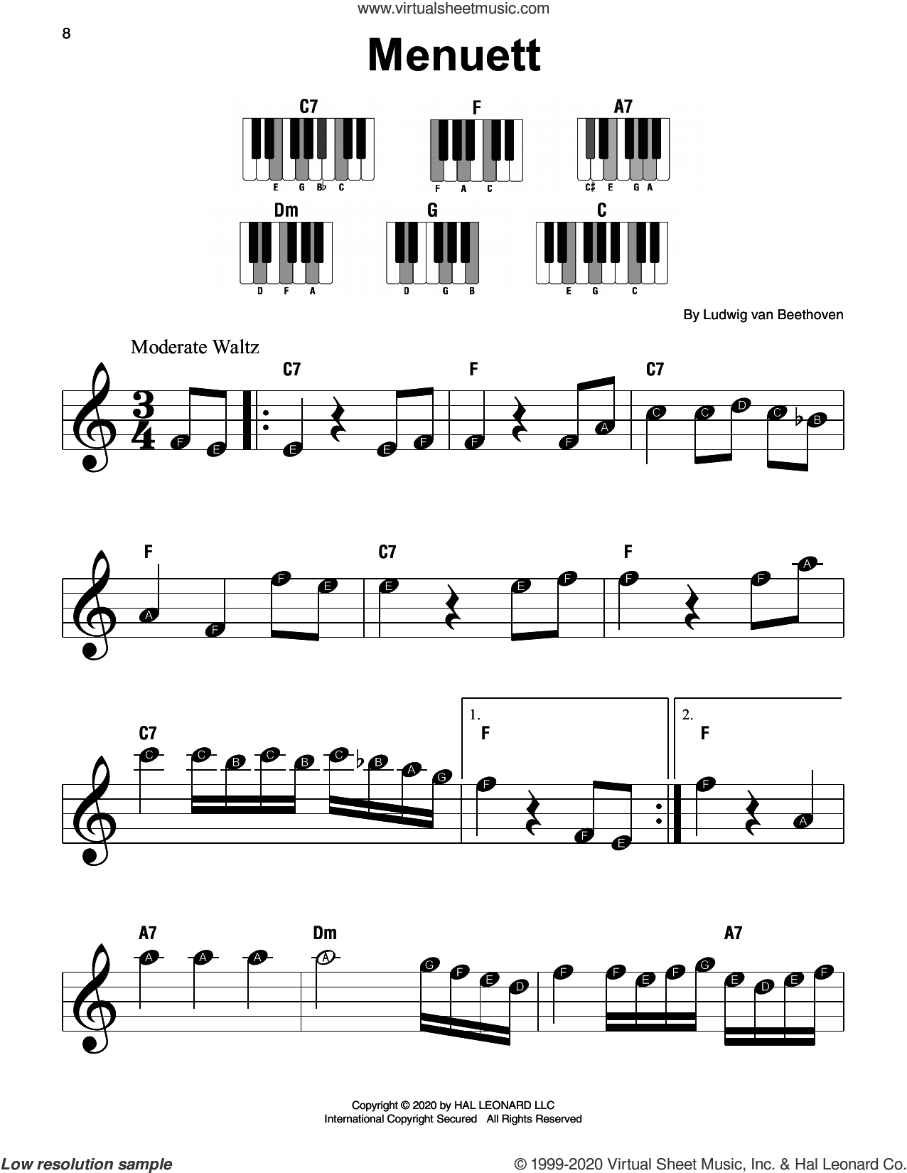 Menuett sheet music for piano solo by Ludwig van Beethoven, classical score, beginner skill level