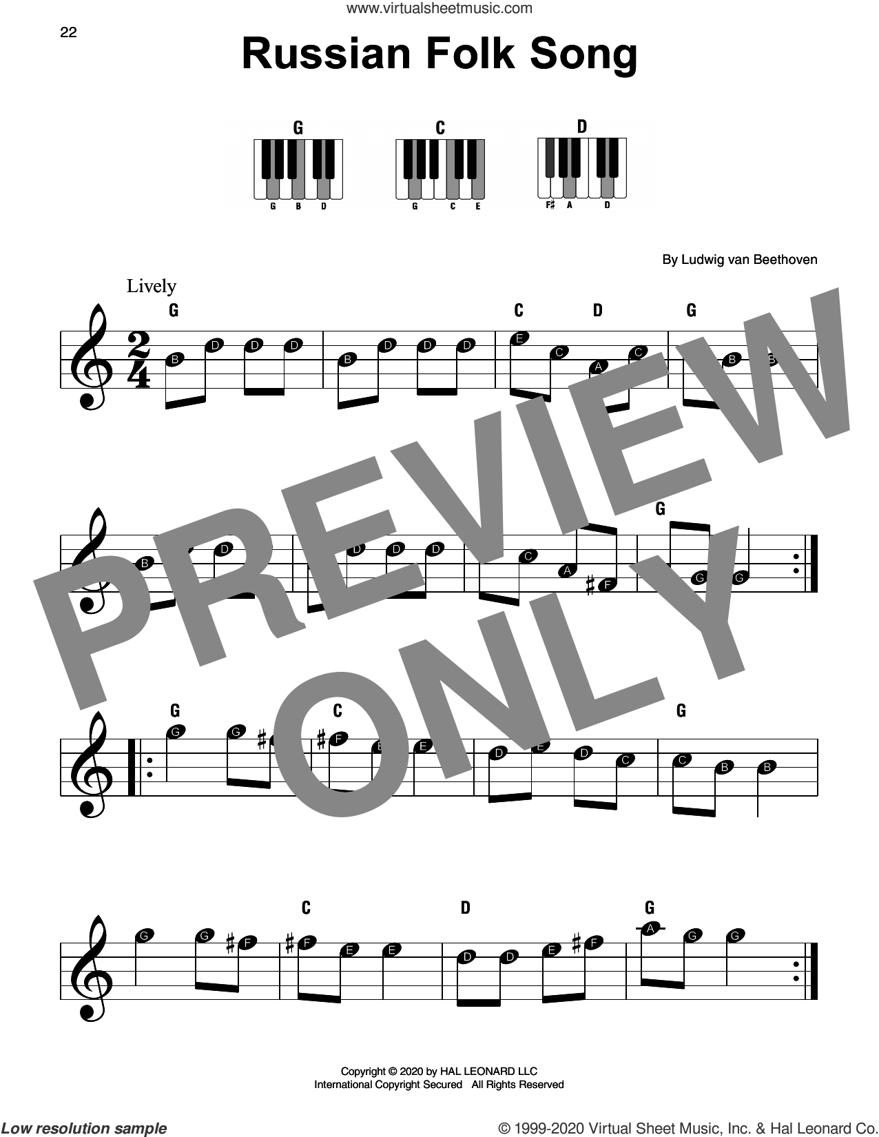 Russian Folk Song sheet music for piano solo by Ludwig van Beethoven, classical score, beginner skill level
