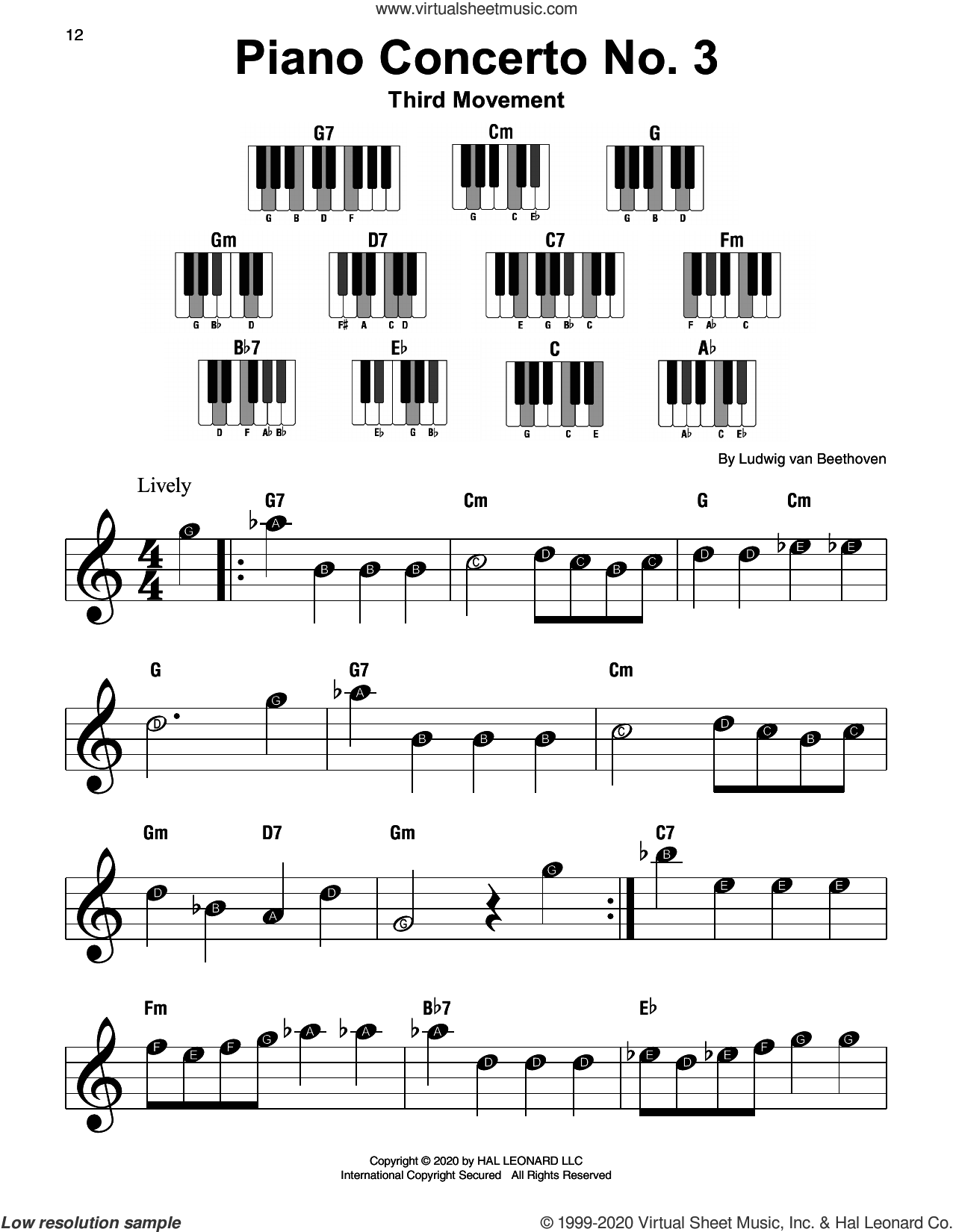 Piano Concerto No. 3, 3rd Movement sheet music for piano solo by Ludwig van Beethoven, classical score, beginner skill level