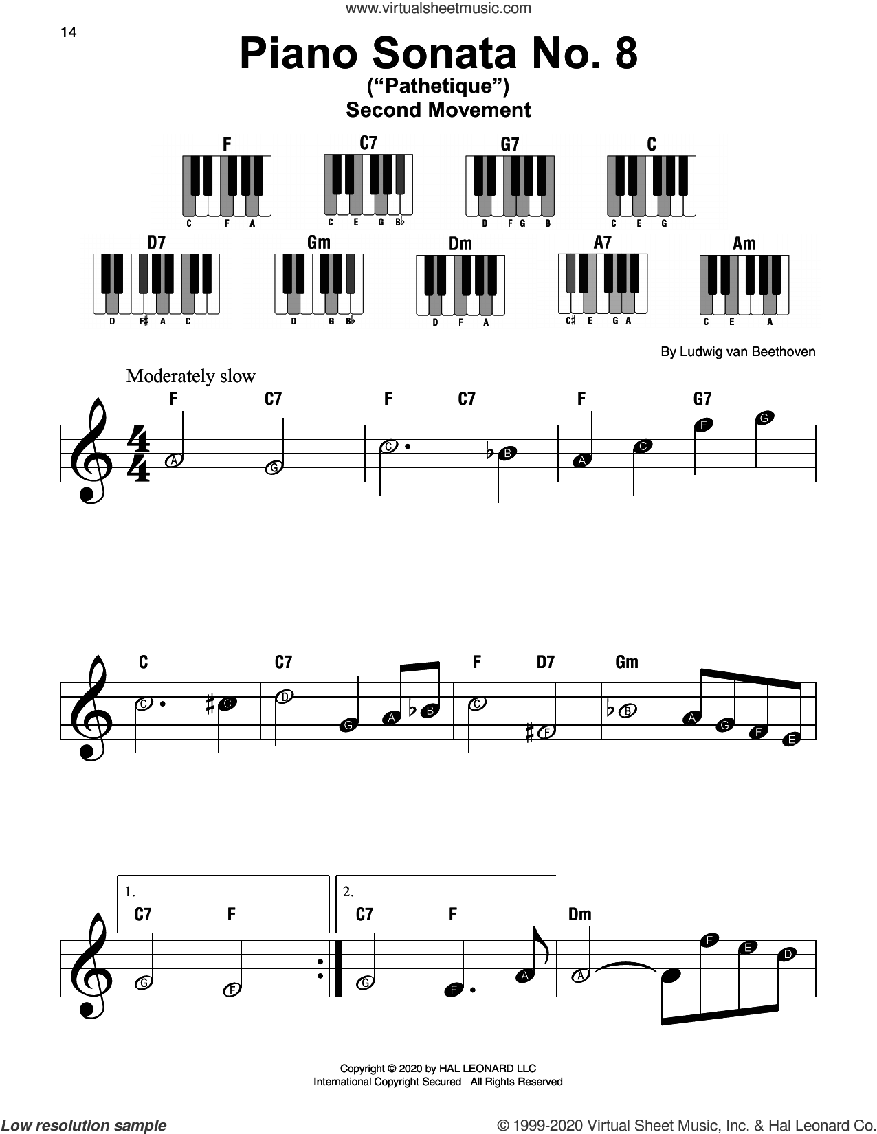Piano Sonata No. 8 'Pathetique,' Second Movement sheet music for piano solo by Ludwig van Beethoven, classical score, beginner skill level
