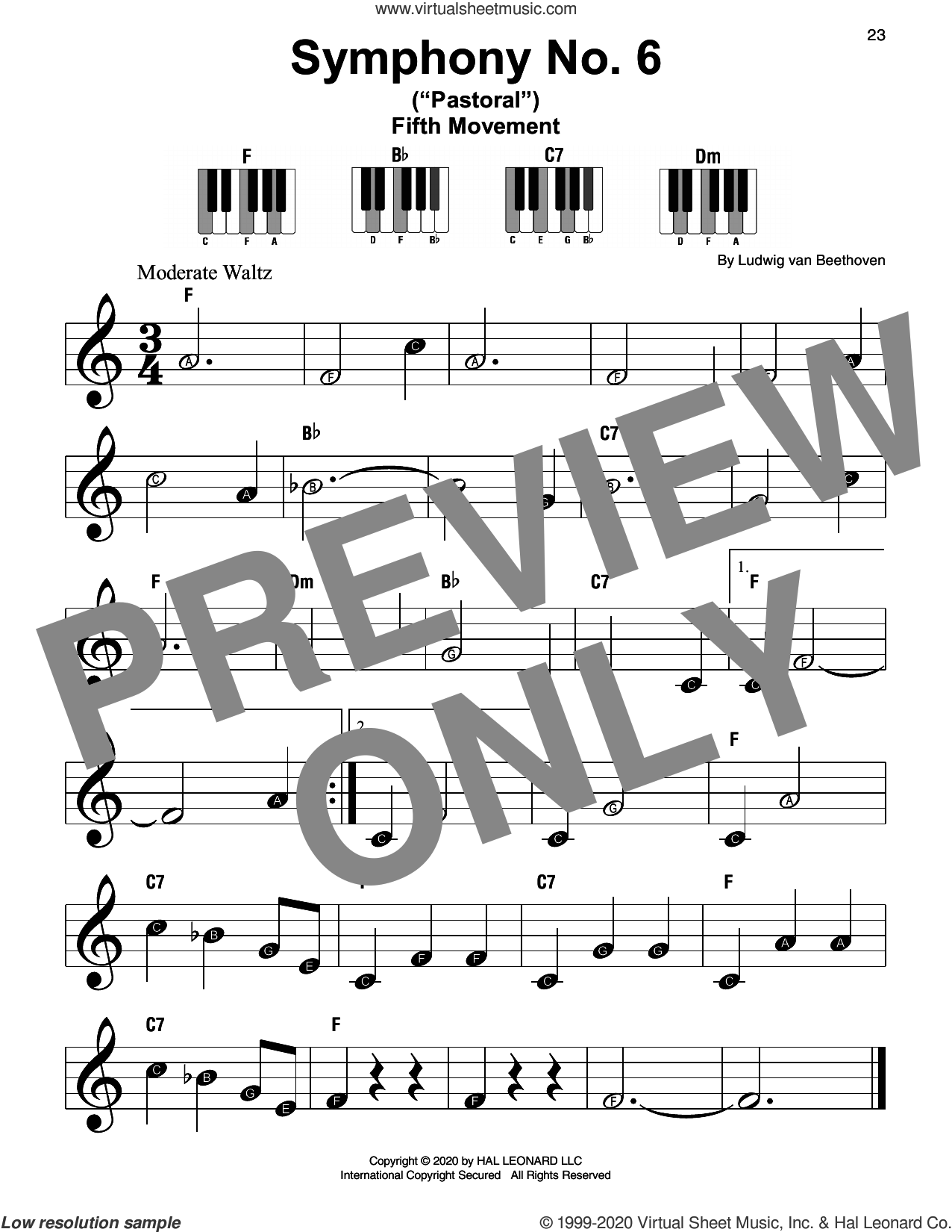 Symphony No. 6 In F Major ('Pastoral'), First Movement Excerpt sheet music for piano solo by Ludwig van Beethoven, classical score, beginner skill level