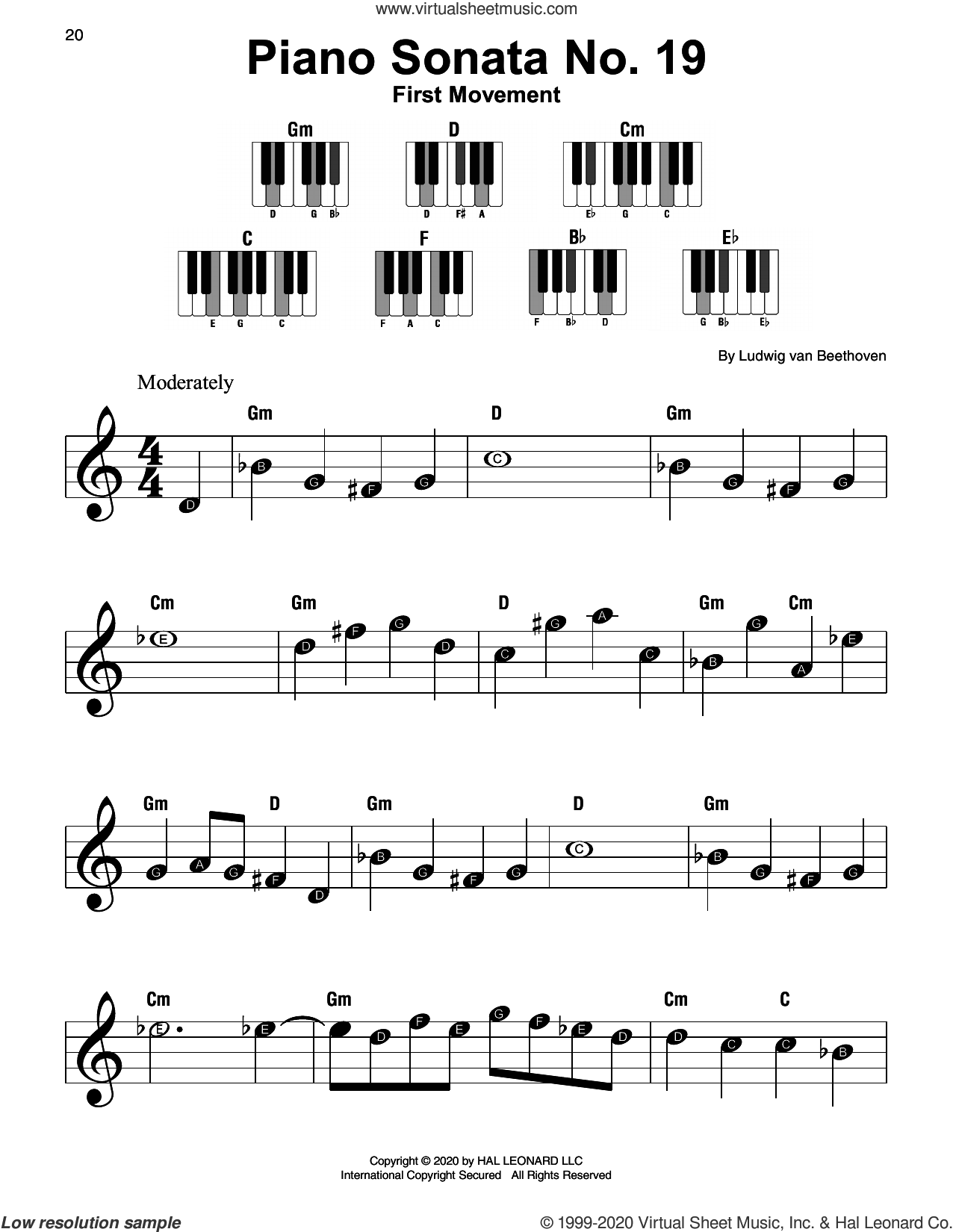 Piano Sonata No. 19, First Movement sheet music for piano solo by Ludwig van Beethoven, classical score, beginner skill level