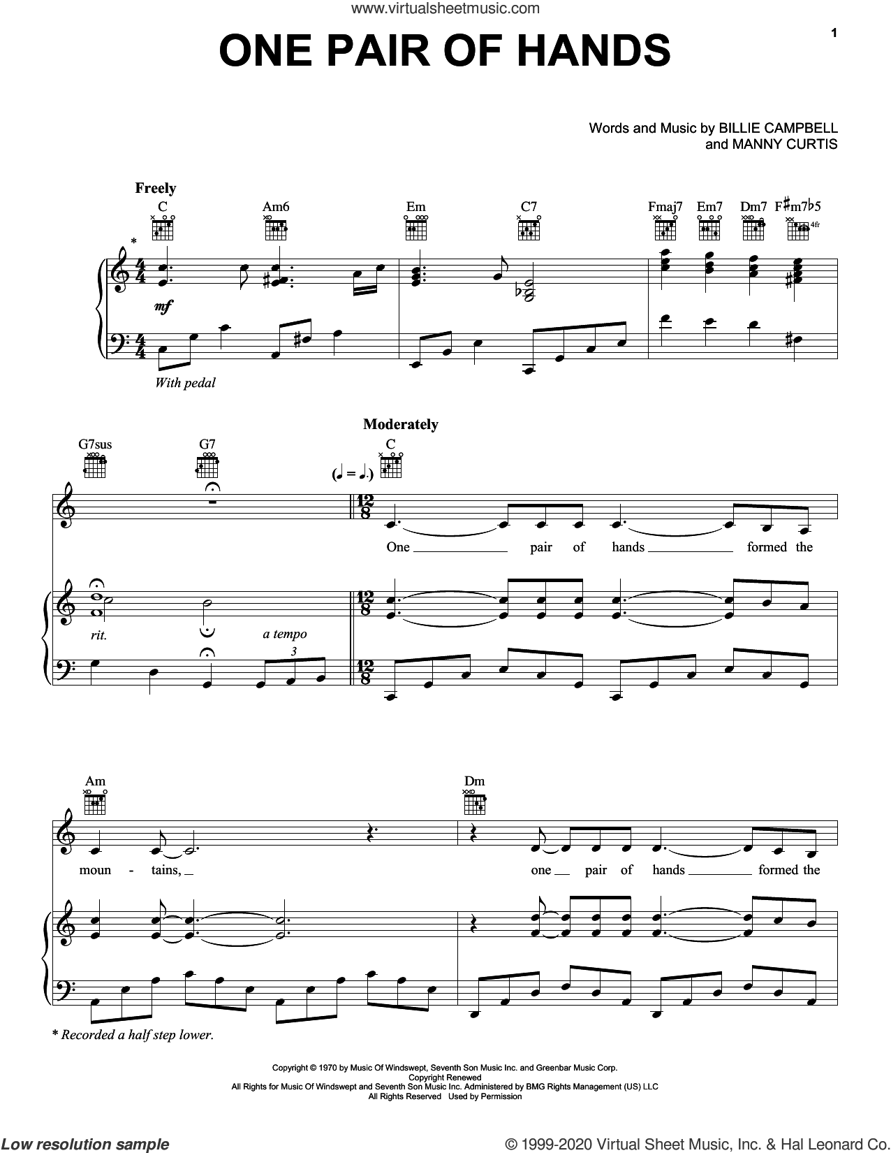 One Pair Of Hands sheet music for voice, piano or guitar by Carroll Roberson, Billie Campbell and Manny Curtis, intermediate skill level
