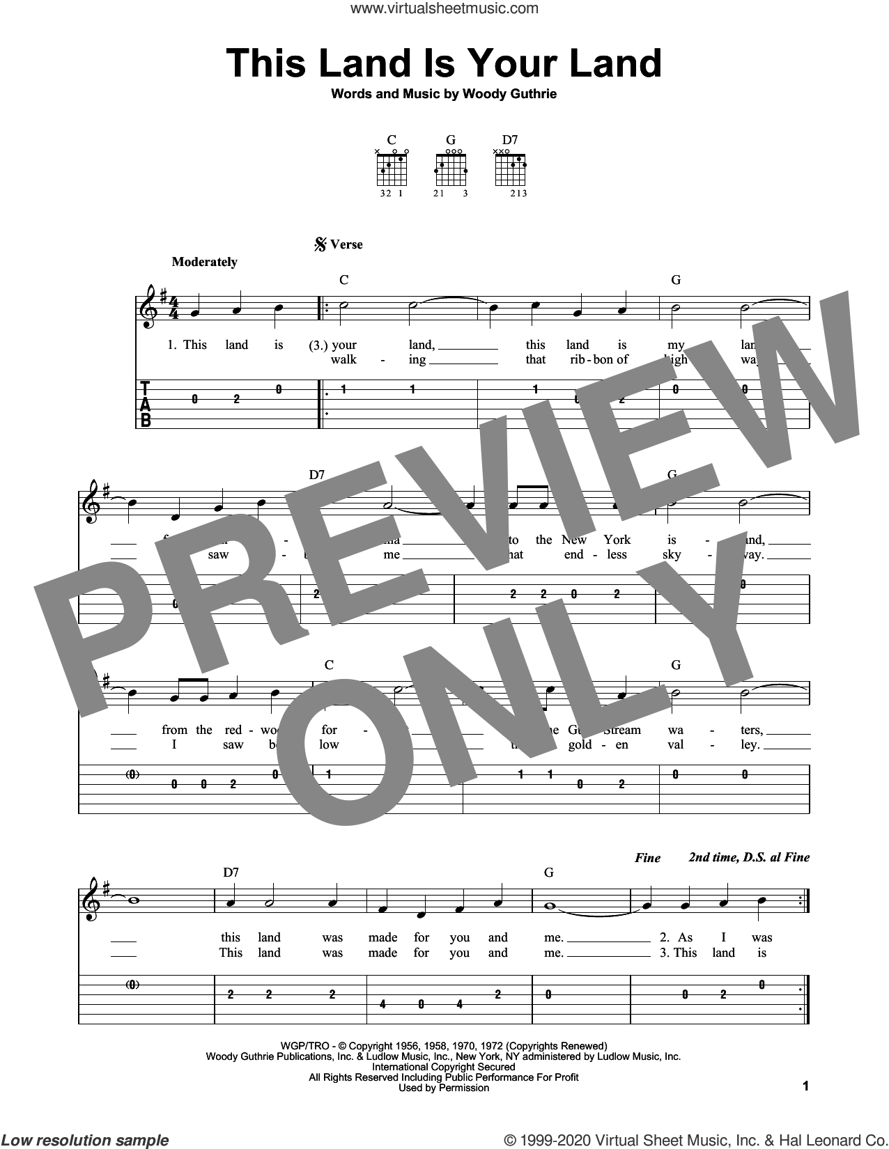 This Land Is Your Land sheet music for guitar solo (easy tablature) by Woody Guthrie, easy guitar (easy tablature)