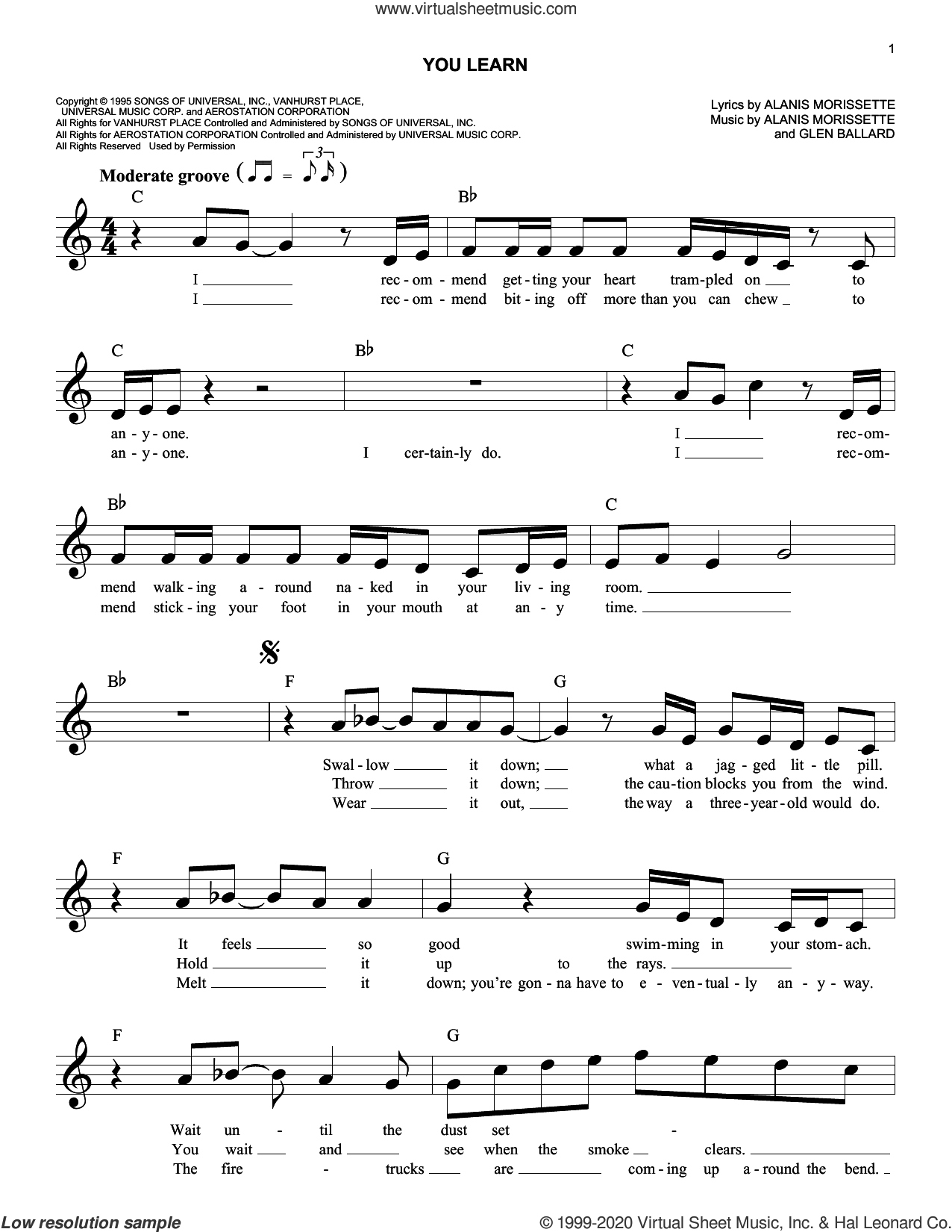 You Learn sheet music for voice and other instruments (fake book) by Alanis Morissette and Glen Ballard, intermediate skill level
