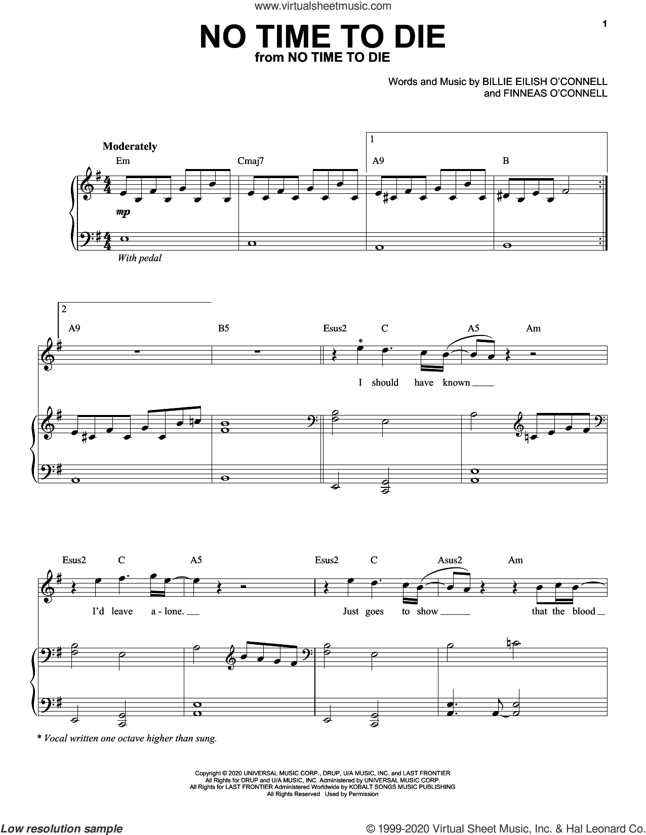 No Time To Die sheet music for voice and piano by Billie Eilish, intermediate skill level