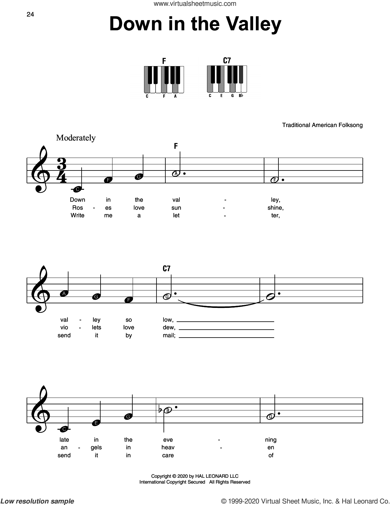 Down In The Valley sheet music for piano solo, beginner skill level