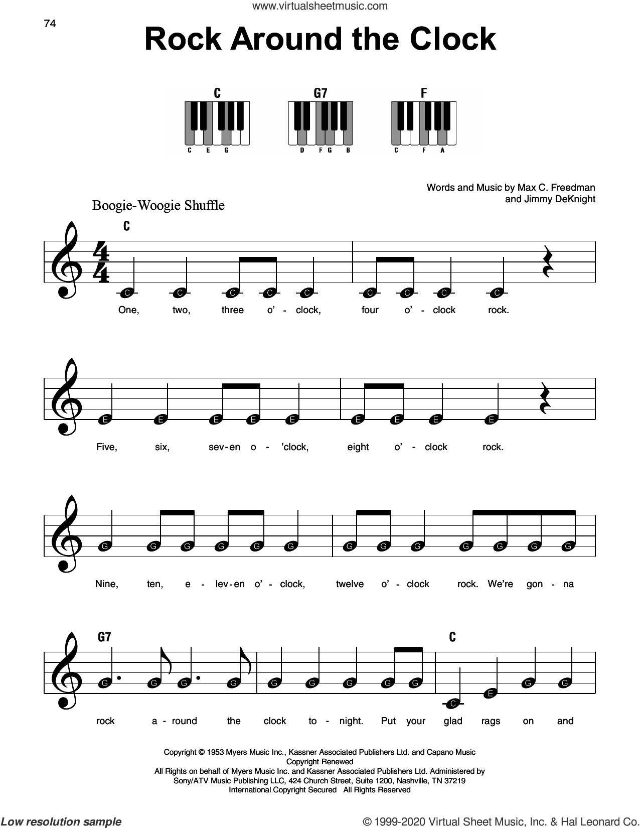 Rock Around The Clock sheet music for piano solo by Bill Haley & His Comets, Jimmy DeKnight and Max C. Freedman, beginner skill level