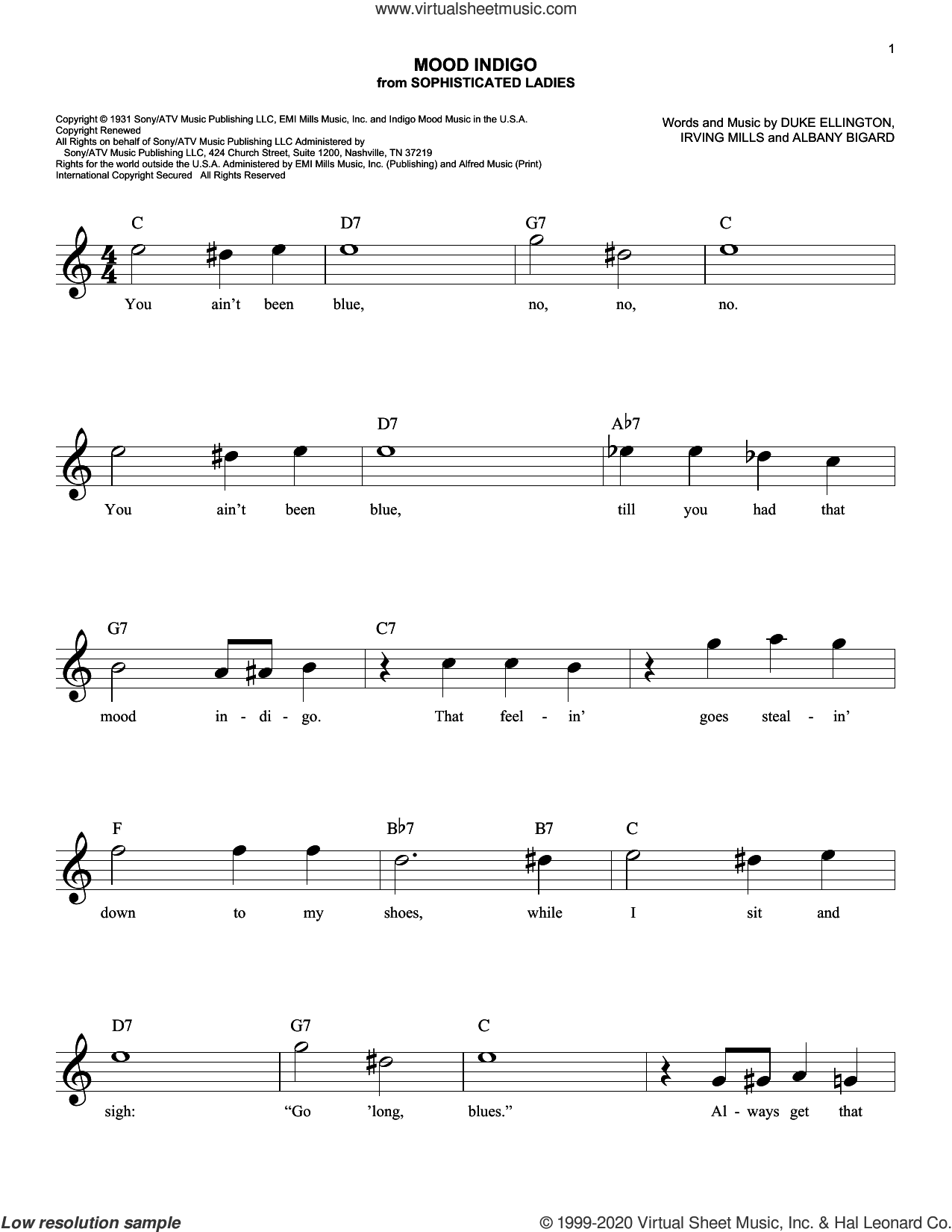 Mood Indigo sheet music for voice and other instruments (fake book) by Duke Ellington, Albany Bigard and Irving Mills, intermediate skill level