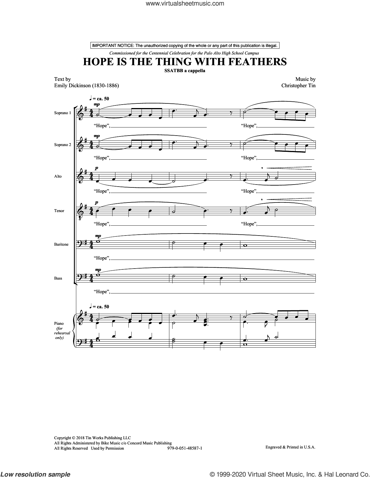 Hope Is The Thing With Feathers sheet music for choir (SATB: soprano, alto, tenor, bass) by Christopher Tin, Emily Dickinson and Emily Dickinson and Christopher Tin, intermediate skill level