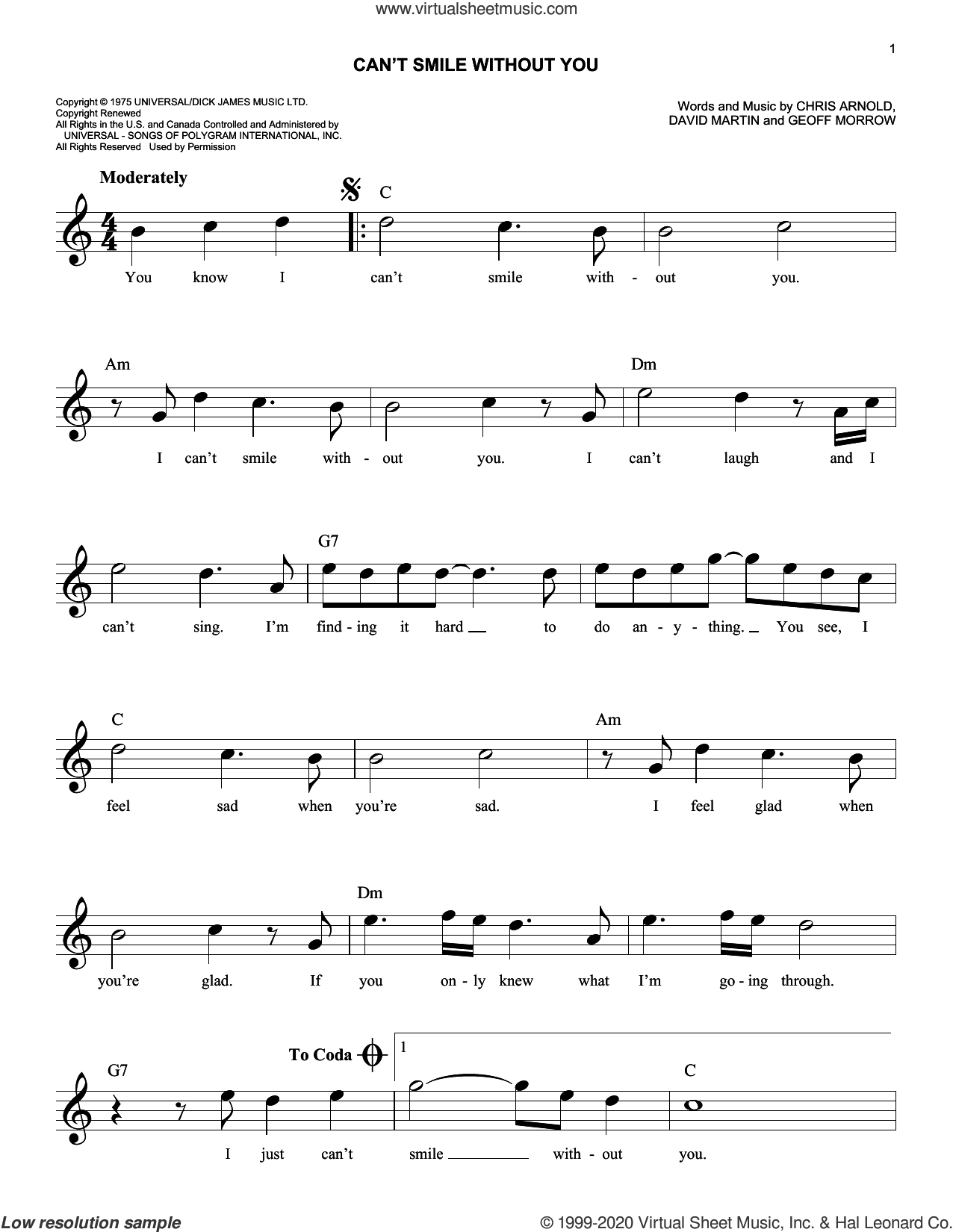 Can't Smile Without You sheet music for voice and other instruments (fake book) by Barry Manilow, Chris Arnold, David Martin and Geoff Morrow, intermediate skill level