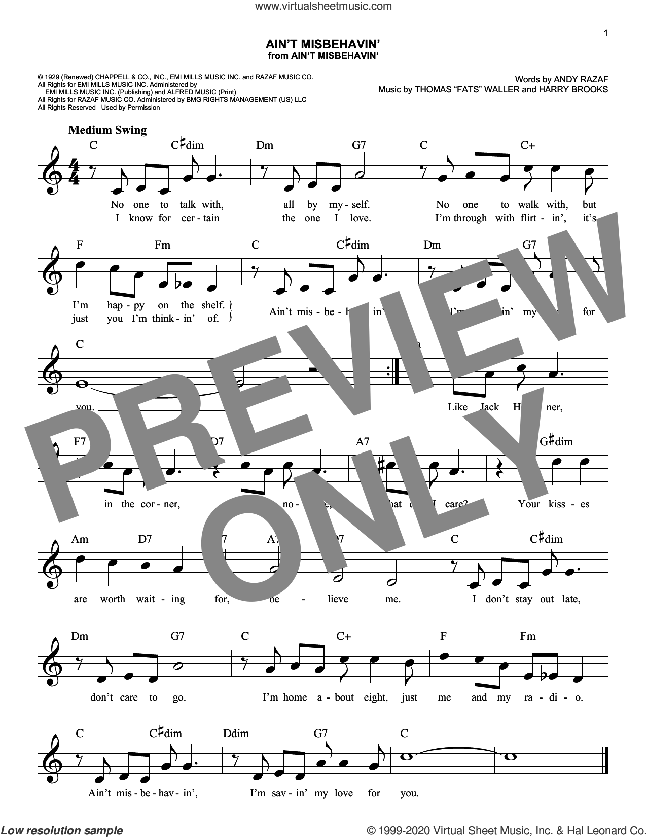 Ain't Misbehavin' sheet music for voice and other instruments (fake book) by Andy Razaf, Thomas Waller and Harry Brooks, intermediate skill level