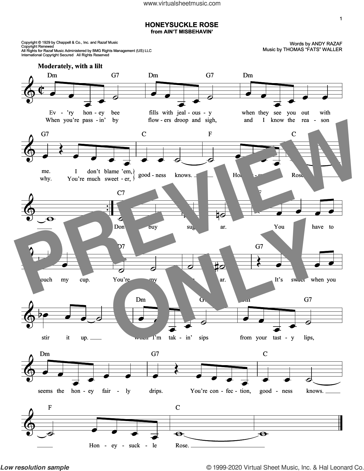 Honeysuckle Rose sheet music for voice and other instruments (fake book) by Andy Razaf and Thomas Waller and Thomas Waller, intermediate skill level