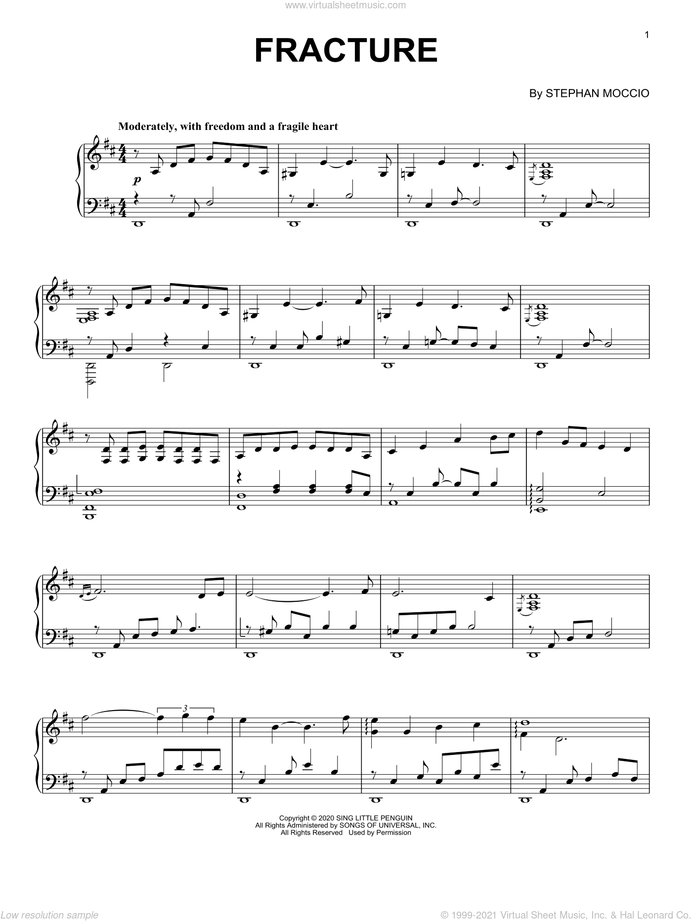 Fracture sheet music for piano solo by Stephan Moccio, classical score, intermediate skill level