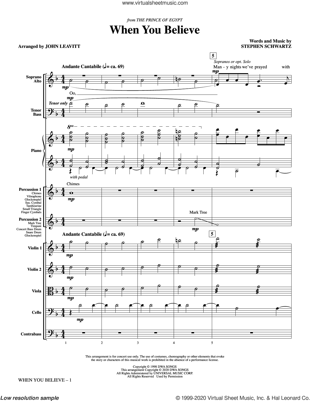 When You Believe (from The Prince Of Egypt) (arr. John Leavitt) (COMPLETE) sheet music for orchestra/band by Stephen Schwartz, John Leavitt and Whitney Houston and Mariah Carey, intermediate skill level