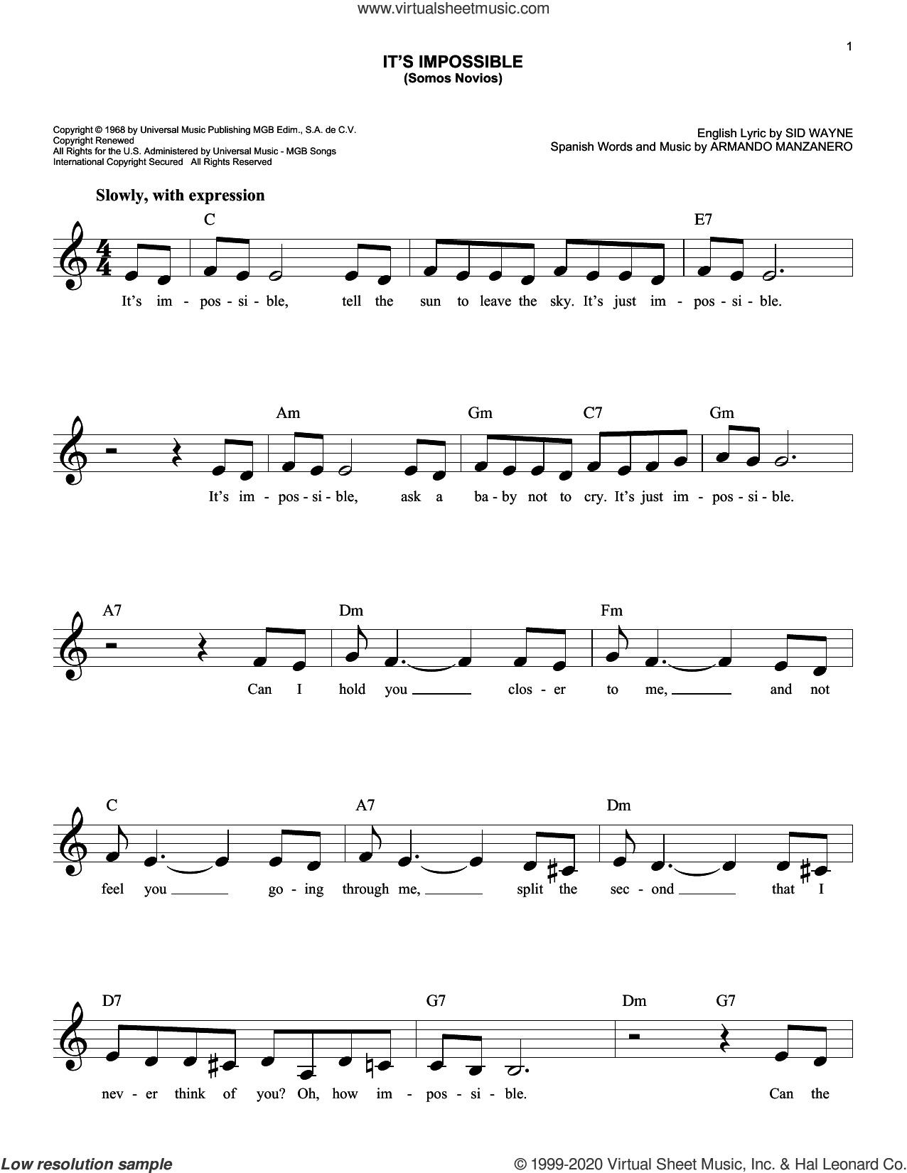 It's Impossible (Somos Novios) sheet music for voice and other instruments (fake book) by Perry Como, Armando Manzanero and Sid Wayne, intermediate skill level