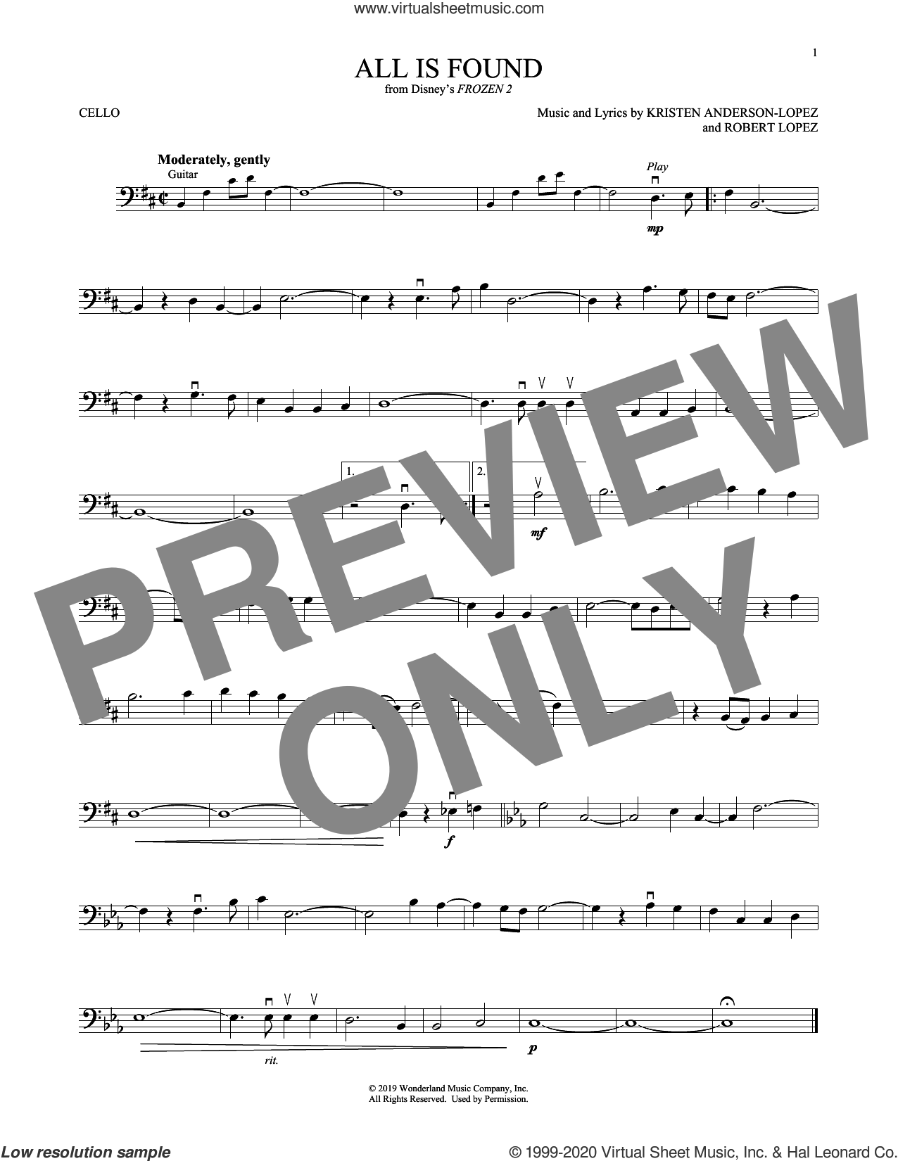 All Is Found (from Disney's Frozen 2) sheet music for cello solo by Evan Rachel Wood, Kristen Anderson-Lopez and Robert Lopez, intermediate skill level