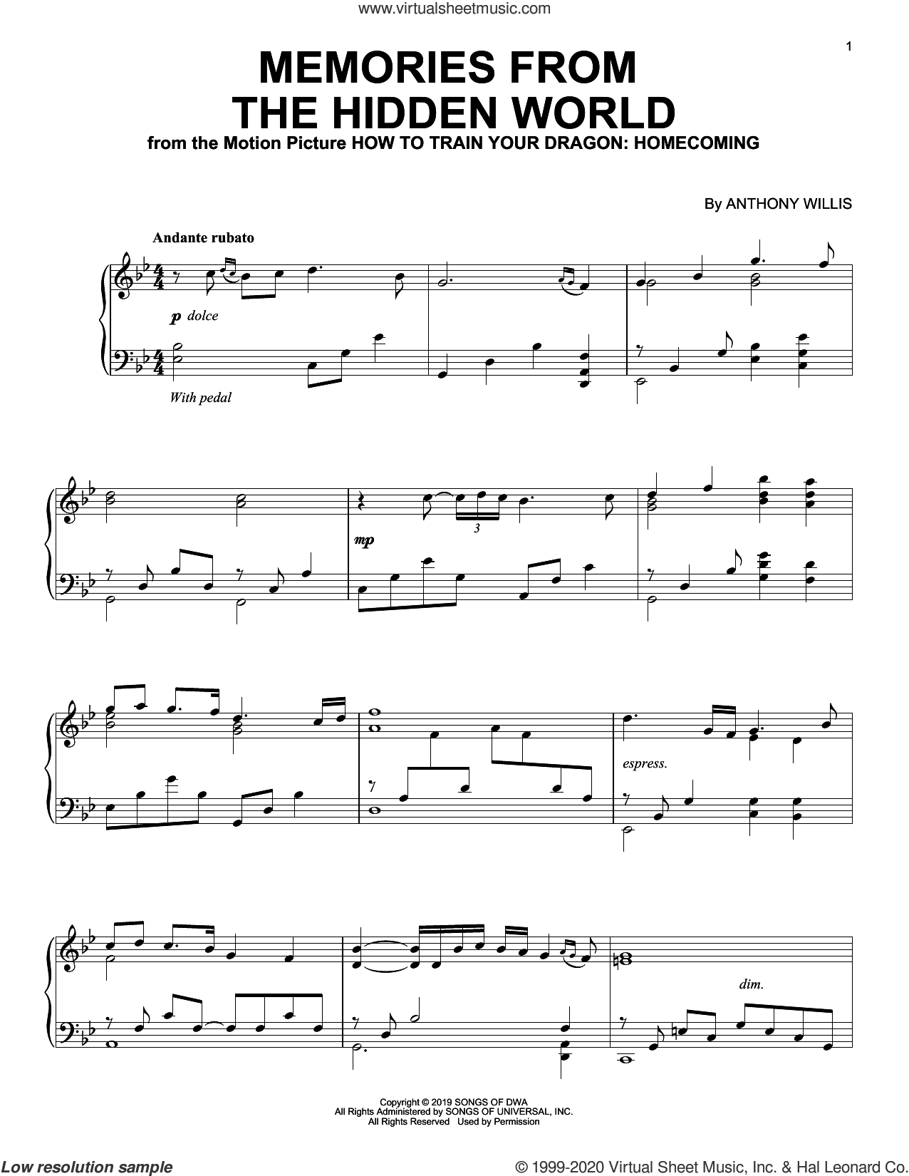 Memories From The Hidden World (from How To Train Your Dragon: Homecoming) sheet music for piano solo by Anthony Willis, intermediate skill level