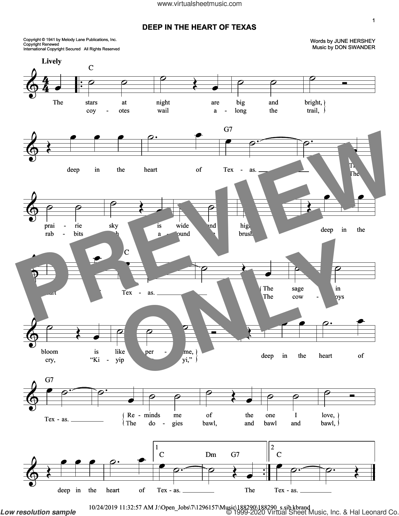 Deep In The Heart Of Texas sheet music for voice and other instruments (fake book) by Gene Autry, Don Swander and June Hershey, intermediate skill level