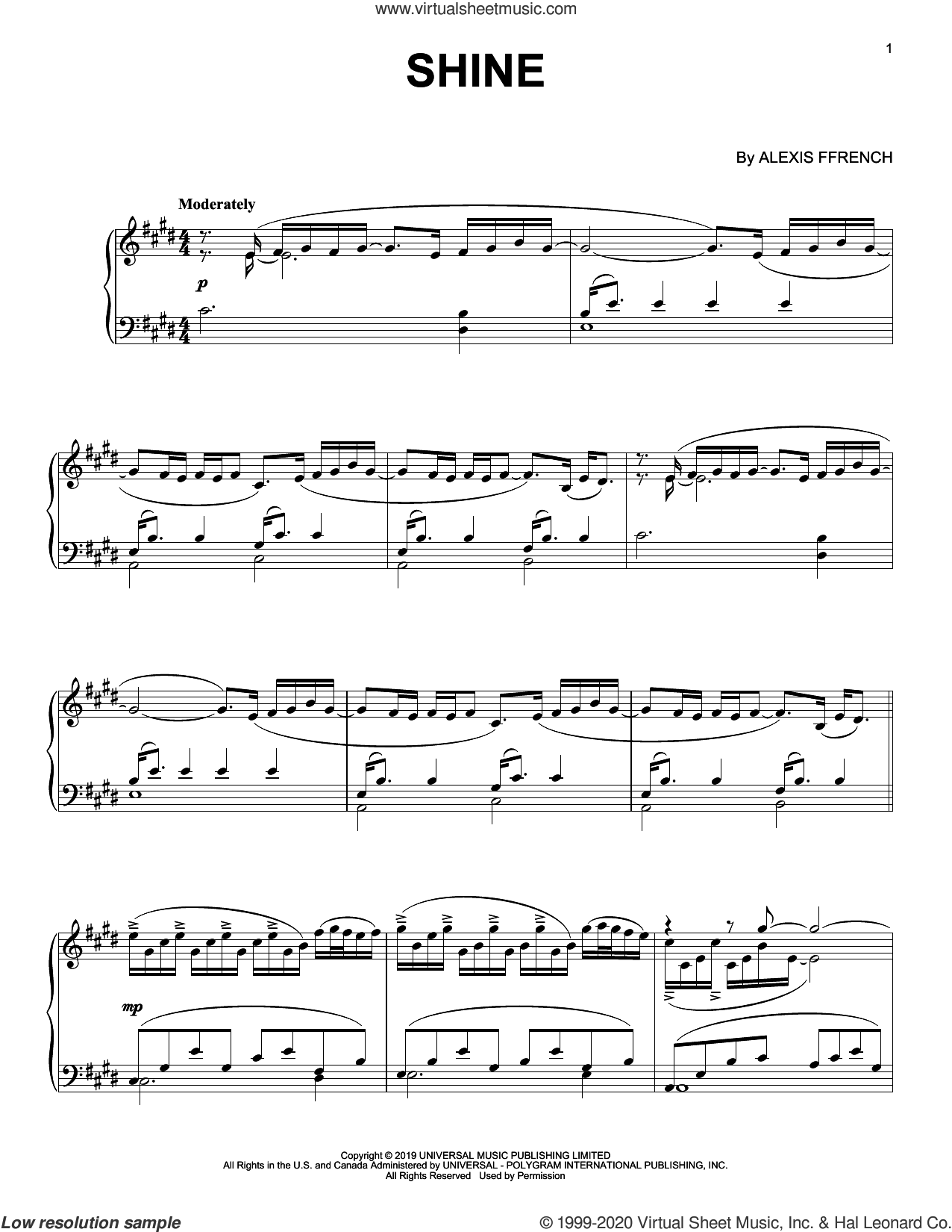 Shine sheet music for piano solo by Alexis Ffrench, intermediate skill level