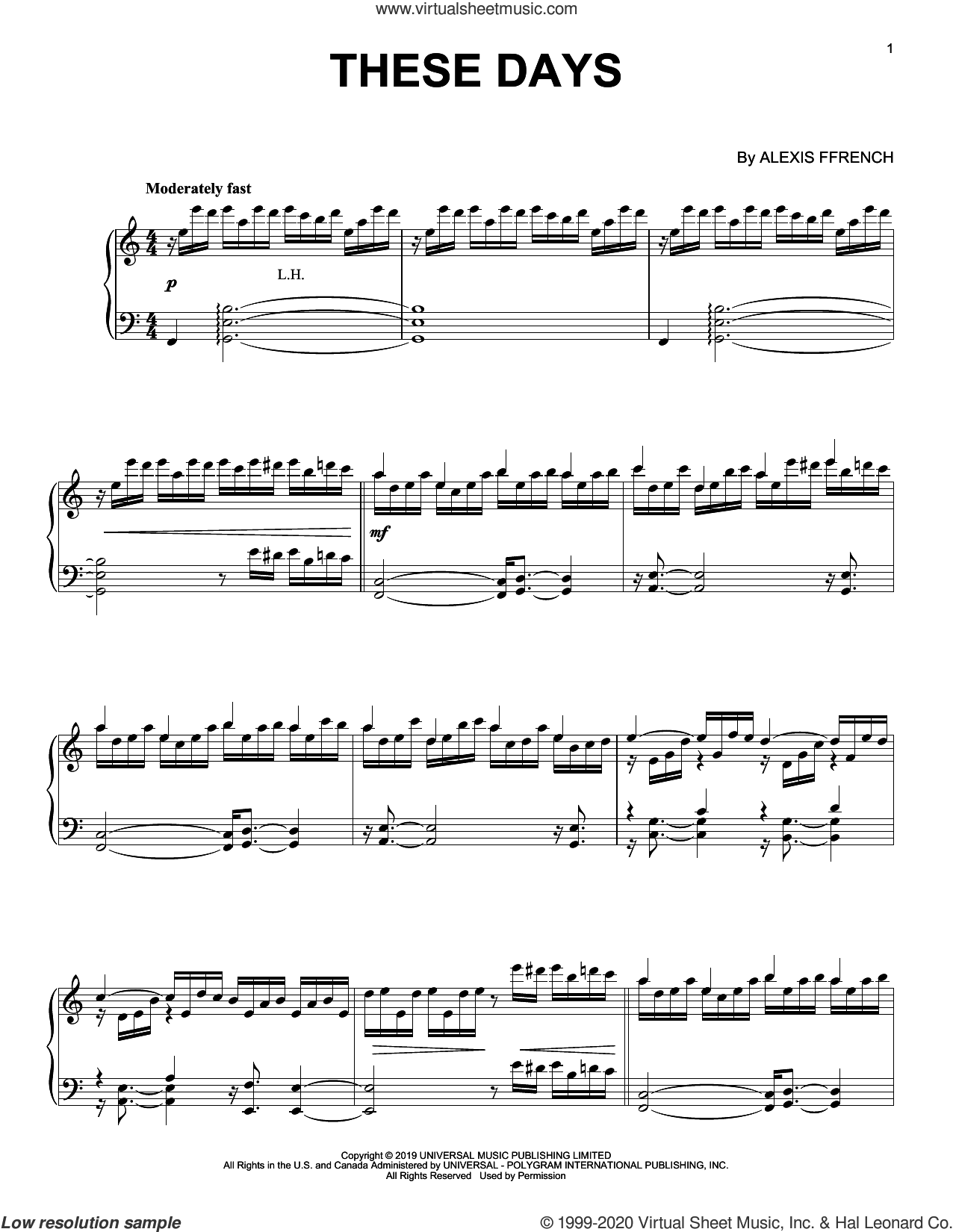 These Days sheet music for piano solo by Alexis Ffrench, intermediate skill level