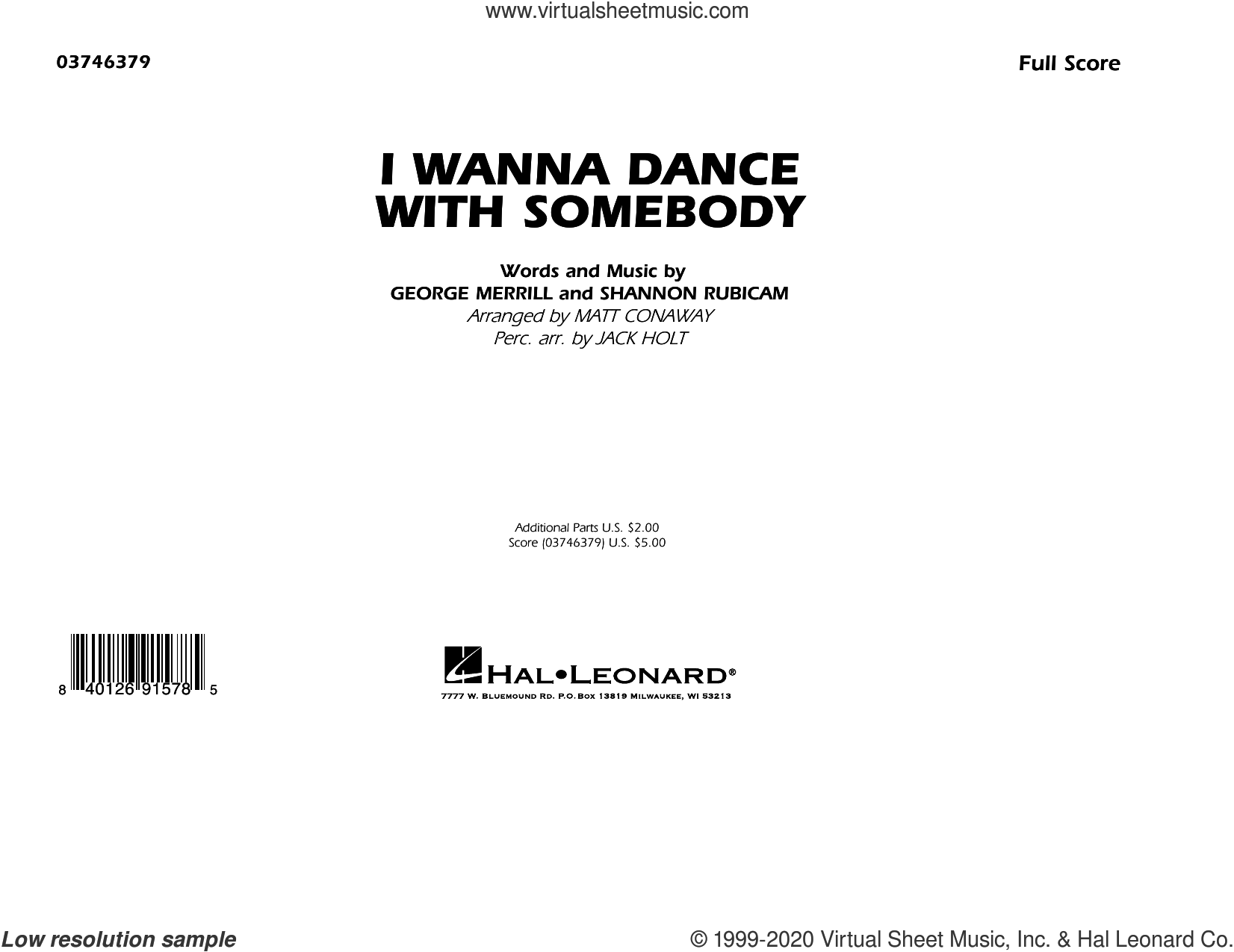 I Wanna Dance with Somebody (arr. Matt Conaway and Jack Holt) (COMPLETE) sheet music for marching band by Whitney Houston, George Merrill, Jack Holt, Matt Conaway and Shannon Rubicam, intermediate skill level