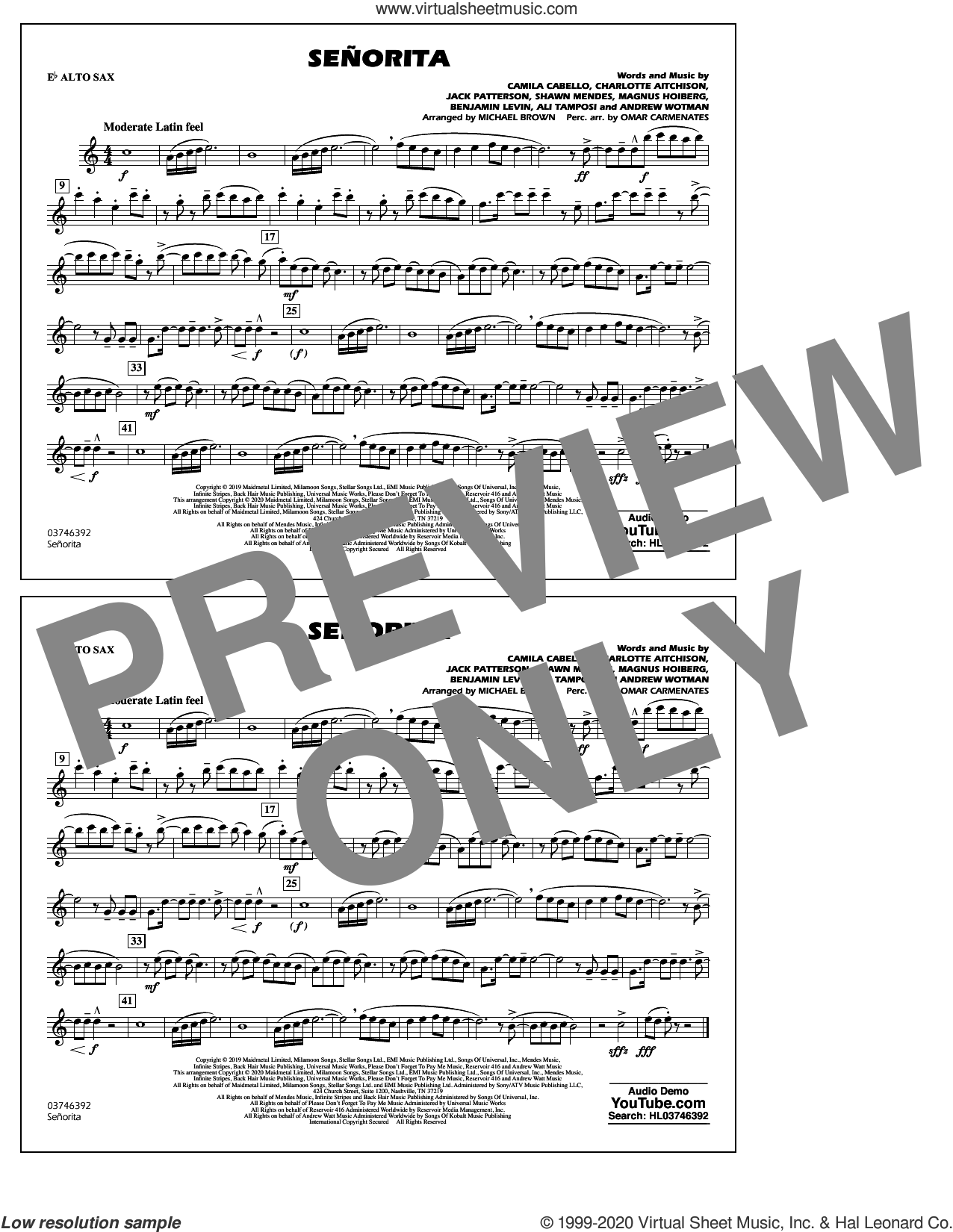 Señorita (arr. Carmenates and Brown) sheet music for marching band (Eb alto sax) by Shawn Mendes & Camila Cabello, Michael Brown, Omar Carmenates, Ali Tamposi, Andrew Wotman, Benjamin Levin, Camila Cabello, Charlotte Aitchison, Jack Patterson, Magnus Hoiberg and Shawn Mendes, intermediate skill level