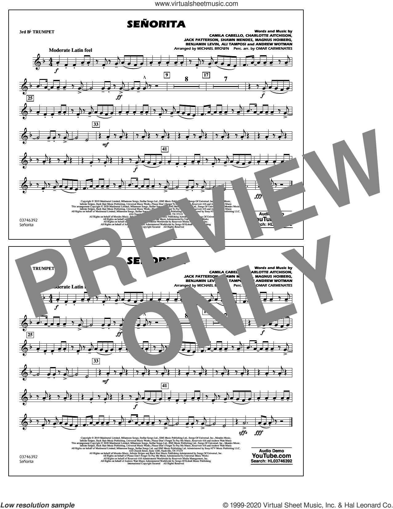 Señorita (arr. Carmenates and Brown) sheet music for marching band (3rd Bb trumpet) by Shawn Mendes & Camila Cabello, Michael Brown, Omar Carmenates, Ali Tamposi, Andrew Wotman, Benjamin Levin, Camila Cabello, Charlotte Aitchison, Jack Patterson, Magnus Hoiberg and Shawn Mendes, intermediate skill level