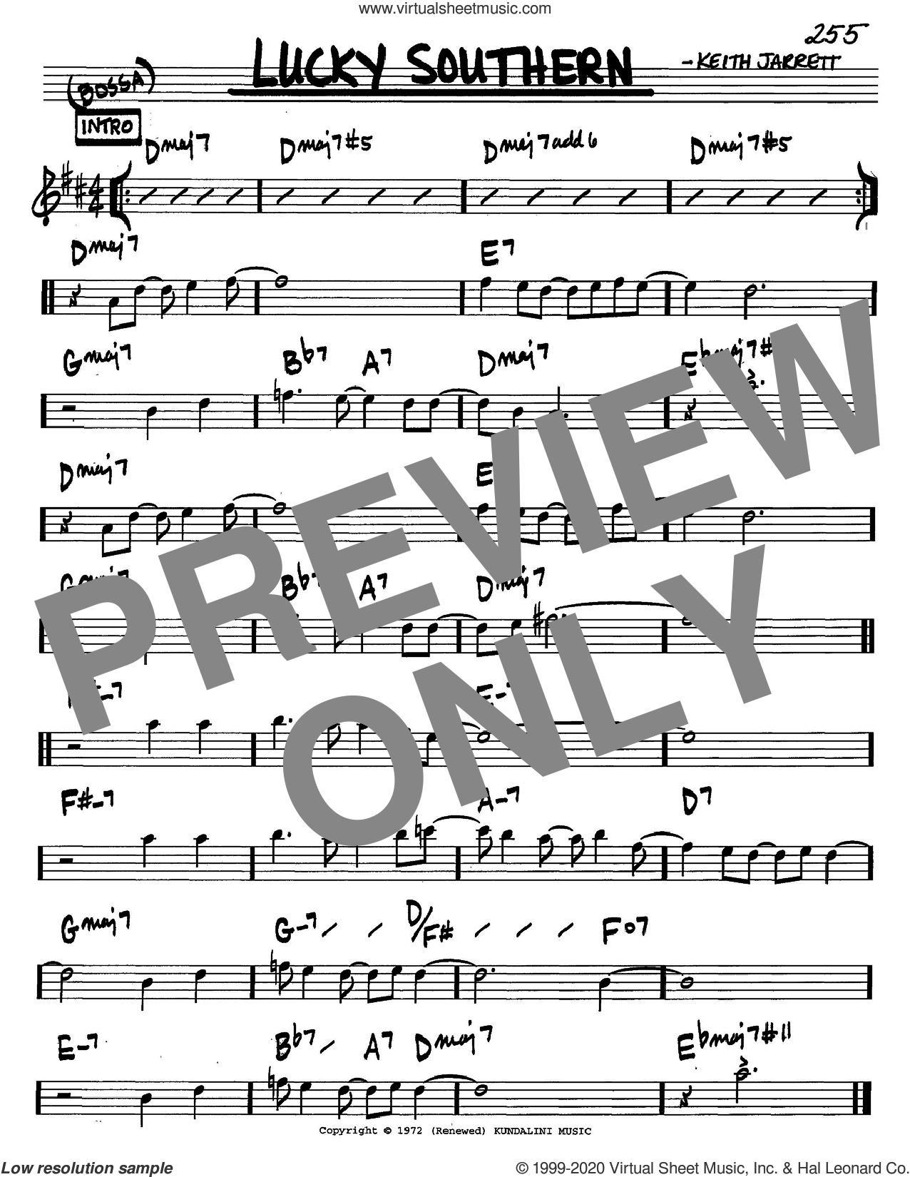 Lucky Southern sheet music for voice and other instruments (in C) by Keith Jarrett, intermediate skill level