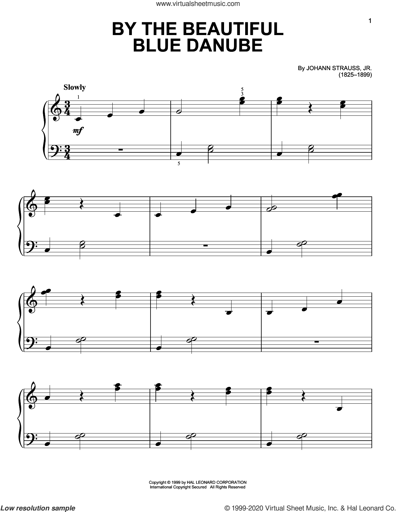 By The Beautiful Blue Danube sheet music for piano solo by Johann Strauss, Jr., classical score, easy skill level