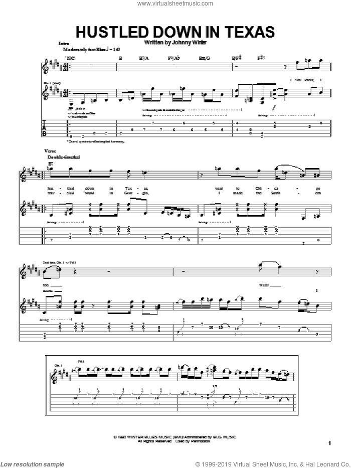 Hustled Down In Texas sheet music for guitar (tablature) by Johnny Winter. Score Image Preview.