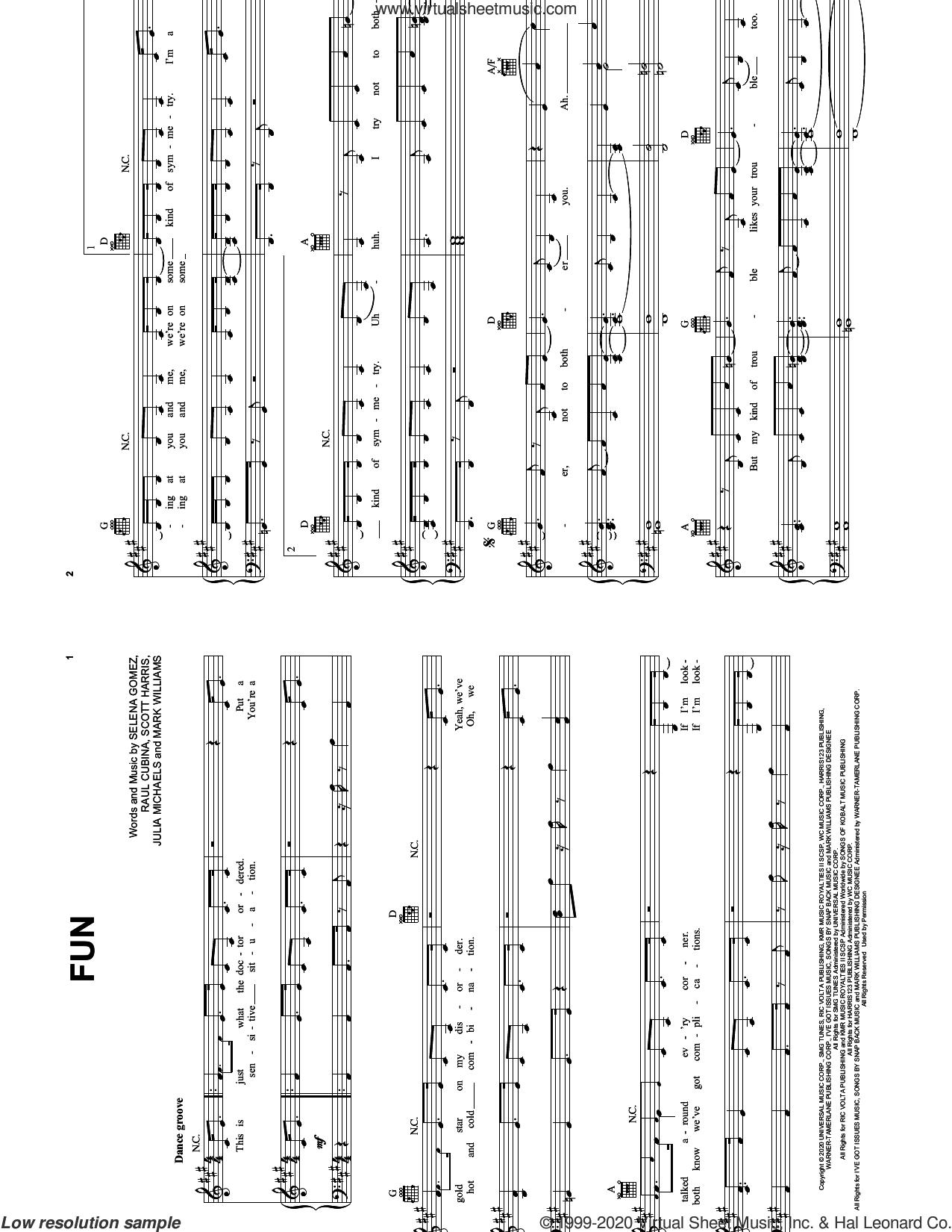 Fun sheet music for voice, piano or guitar by Selena Gomez, Julia Michaels, Mark Williams, Raul Cubina and Scott Harris, intermediate skill level