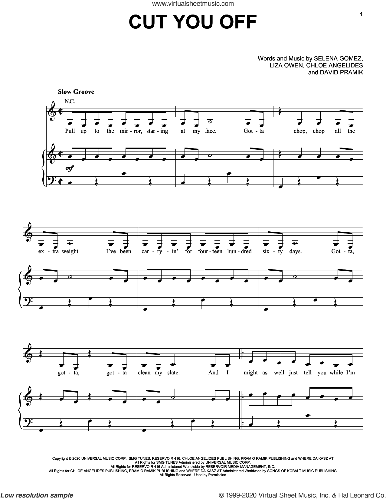 Cut You Off sheet music for voice, piano or guitar by Selena Gomez, Chloe Angelides, David Pramik and Liza Owen, intermediate skill level