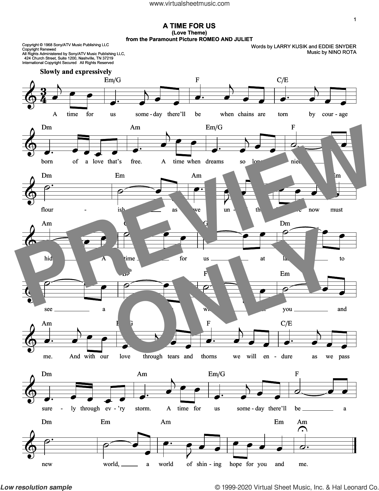 A Time For Us (Love Theme from Romeo And Juliet) sheet music for voice and other instruments (fake book) by Nino Rota, Eddie Snyder and Larry Kusik, intermediate skill level