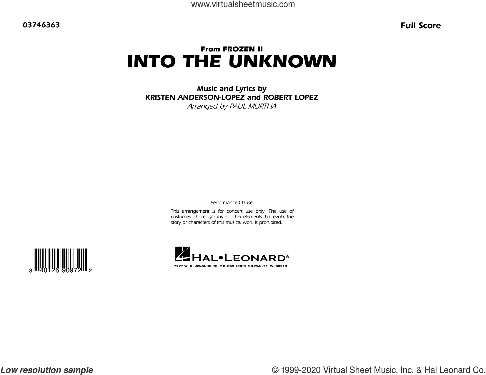 Into the Unknown (from Disney's Frozen 2) (arr. Paul Murtha) (COMPLETE) sheet music for marching band by Robert Lopez, Idina Menzel and AURORA, Kristen Anderson-Lopez, Panic! At The Disco and Paul Murtha, intermediate skill level
