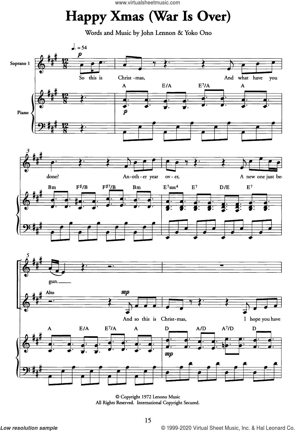 Happy Xmas (War Is Over) sheet music for choir (SSA: soprano, alto) by John Lennon and Yoko Ono, intermediate skill level