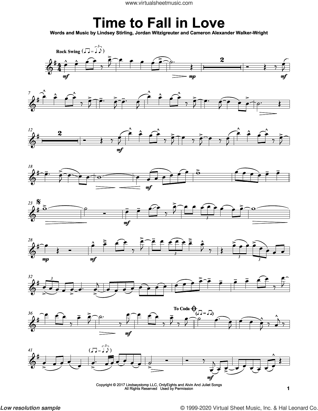 Time To Fall In Love sheet music for violin solo by Lindsey Stirling, Cameron Walker-Wright and Jordan Witzigreuter, intermediate skill level