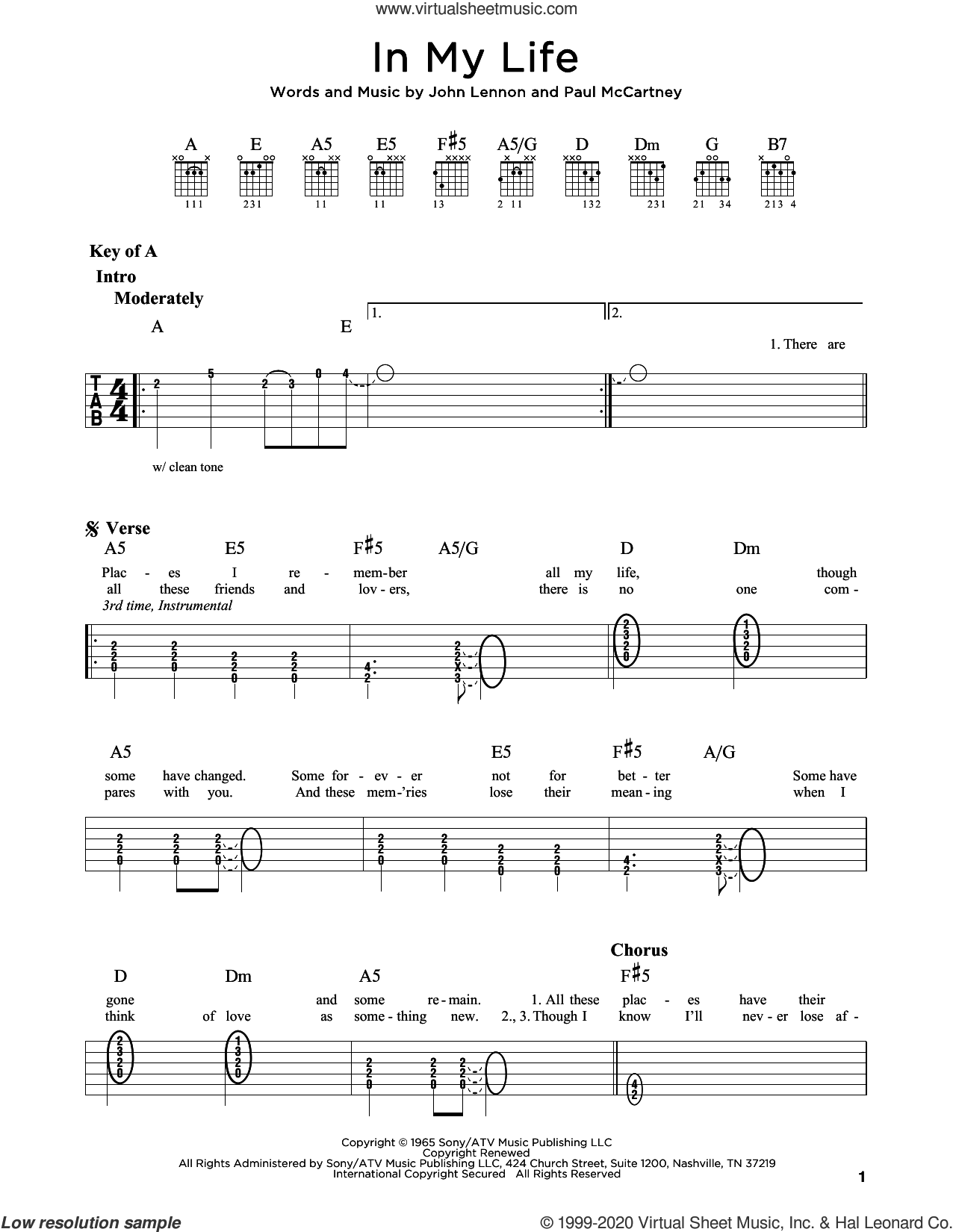 In My Life sheet music for guitar (rhythm tablature) by The Beatles, John Lennon and Paul McCartney, intermediate skill level