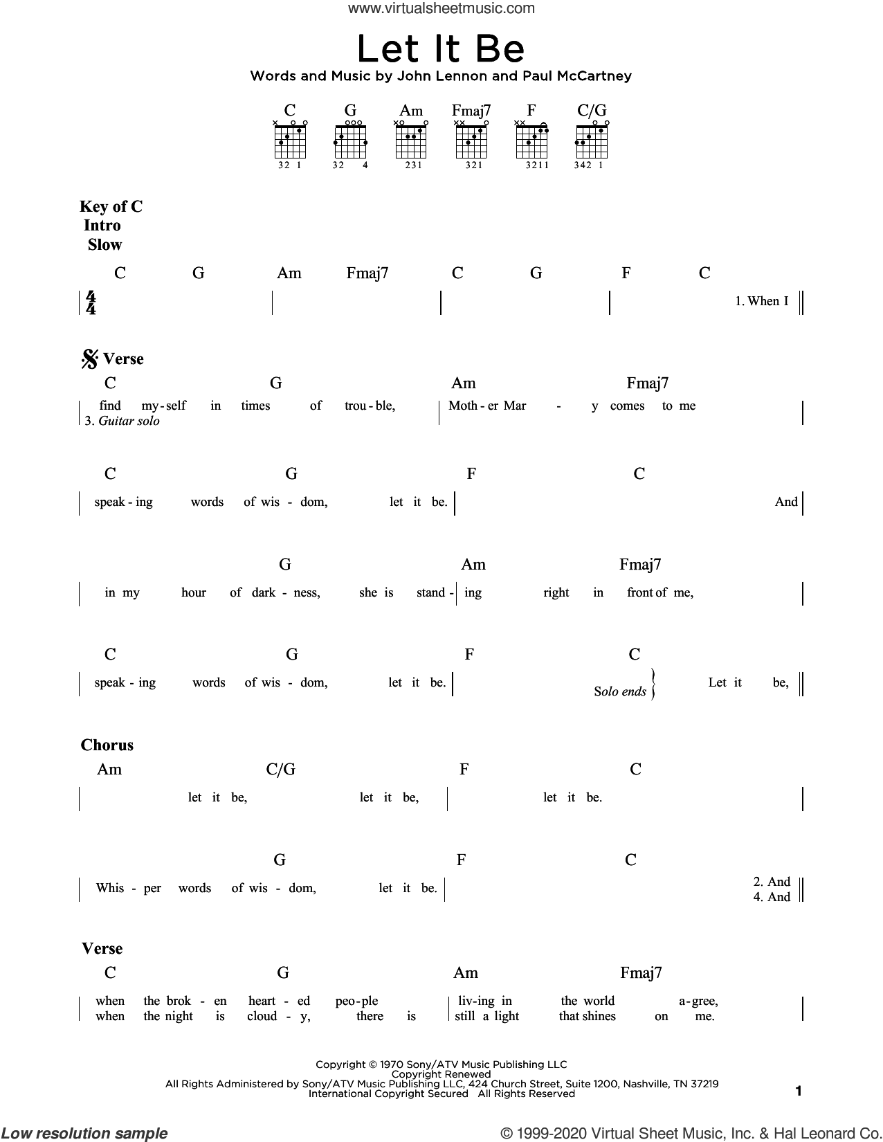 Let It Be sheet music for guitar (rhythm tablature) by The Beatles, John Lennon and Paul McCartney, intermediate skill level