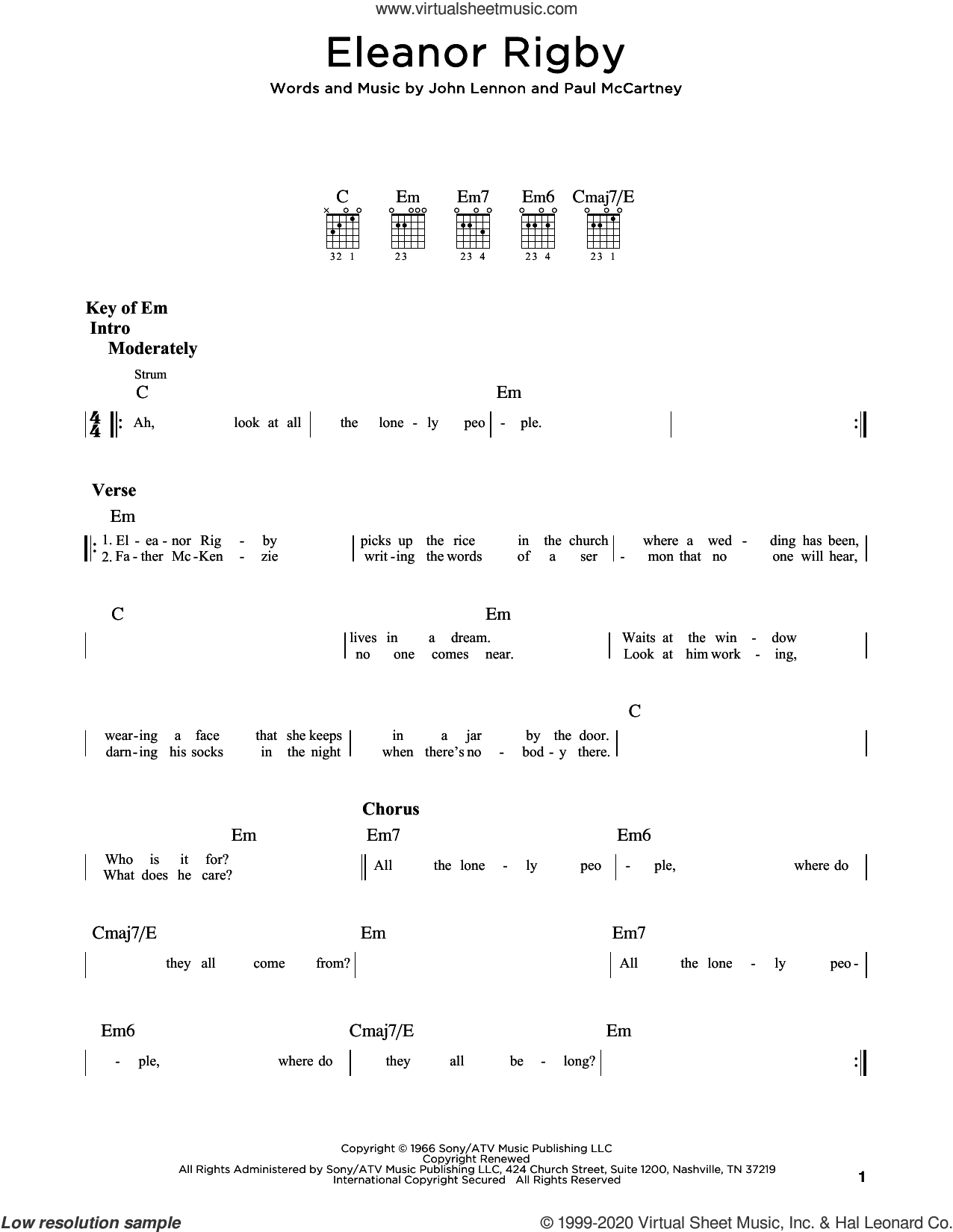 Eleanor Rigby sheet music for guitar (rhythm tablature) by The Beatles, John Lennon and Paul McCartney, intermediate skill level